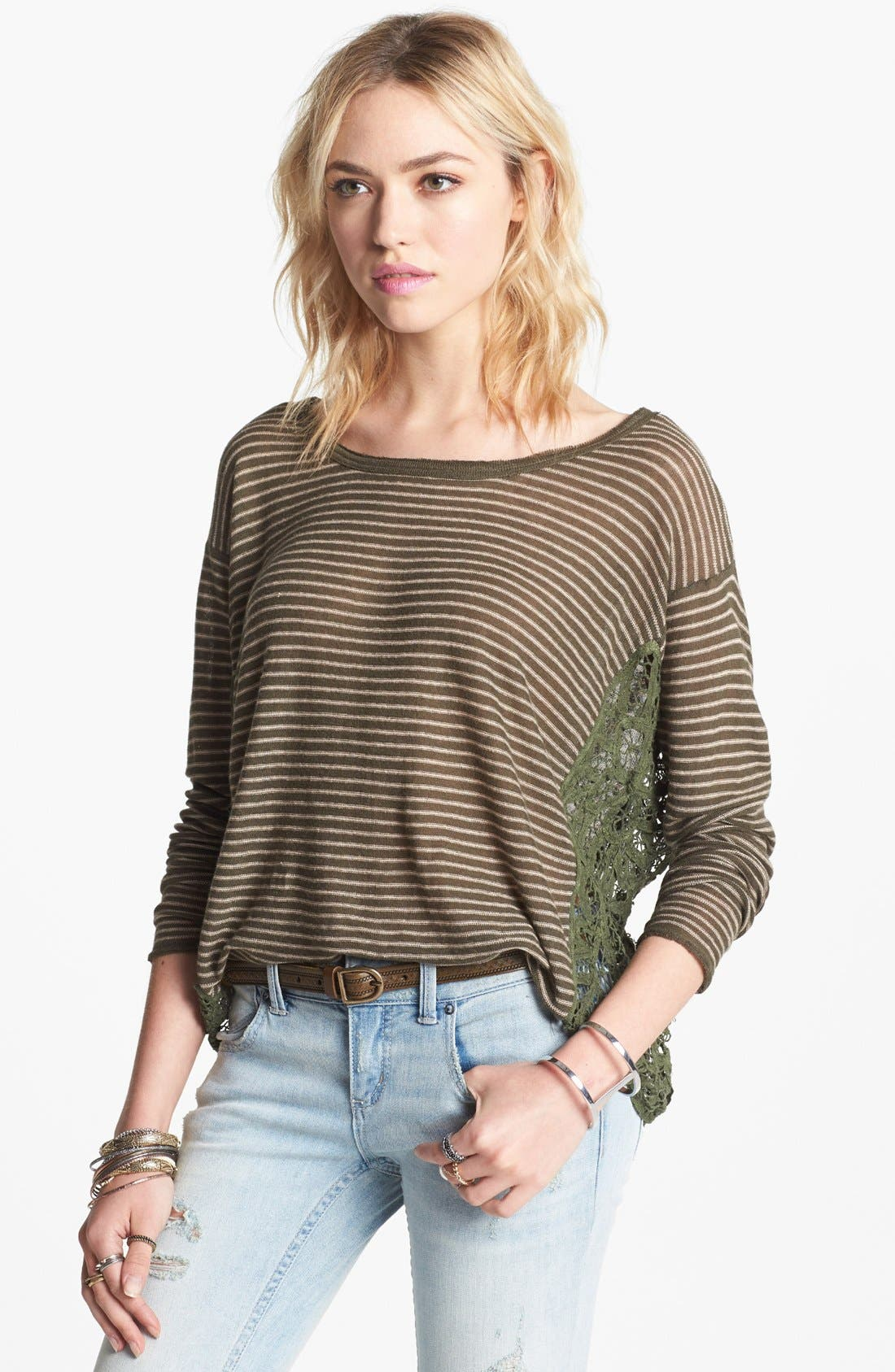 Alternate Image 1 Selected - Free People 'Love Me Do' Stripe Pullover