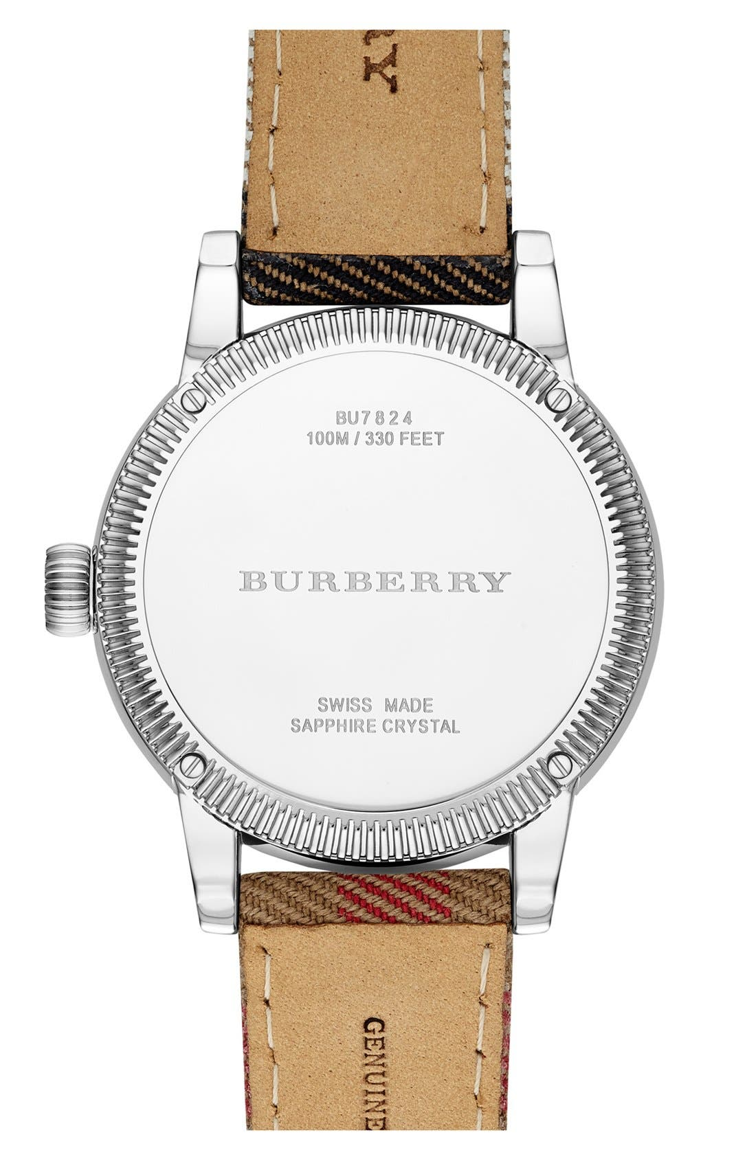 Alternate Image 3  - Burberry Round Dial Check Strap Watch, 38mm