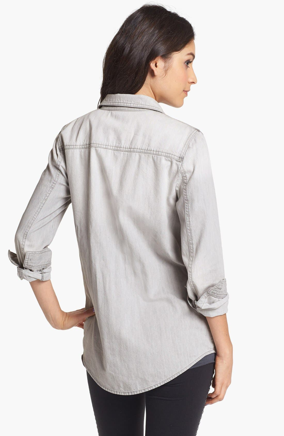 Alternate Image 2  - BP. Boyfriend Chambray Shirt (Juniors)