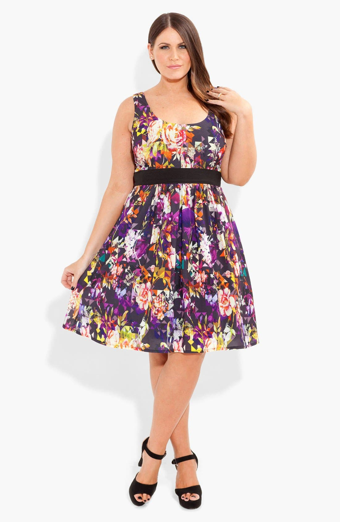 Alternate Image 1 Selected - City Chic Print Fit & Flare Dress (Plus Size)