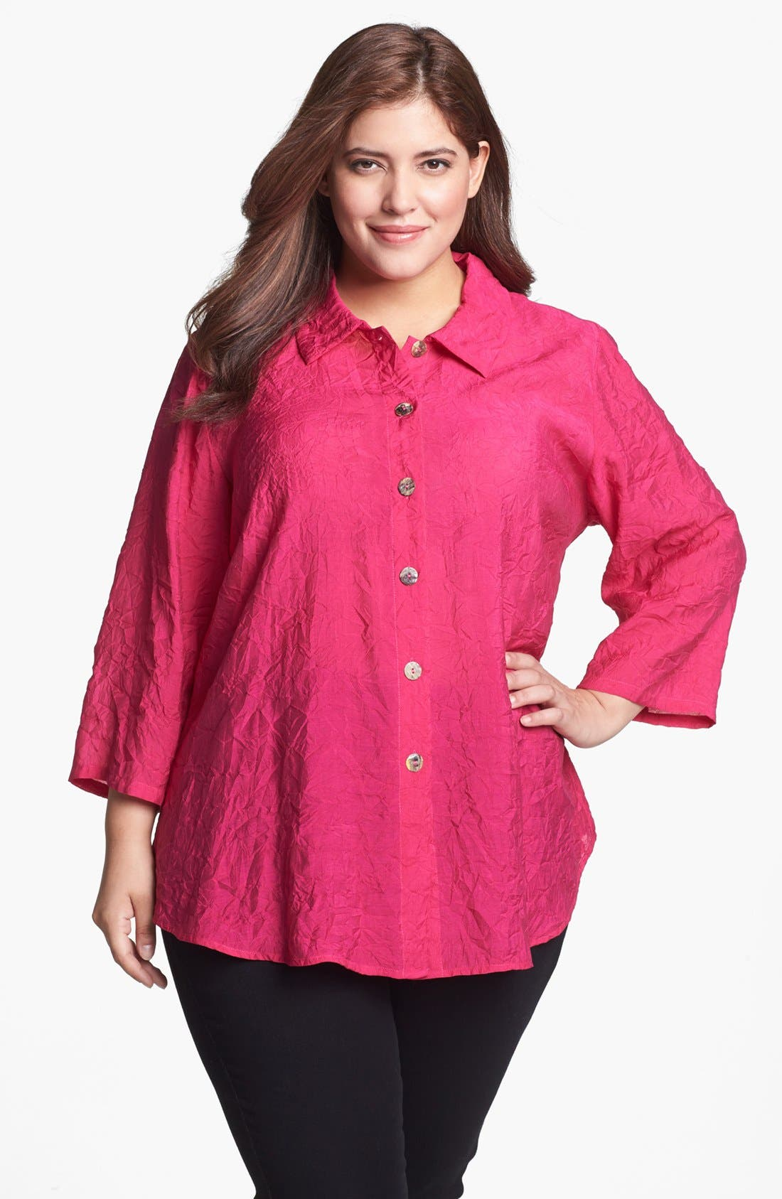 Alternate Image 1 Selected - Citron Crinkled Blouse (Plus Size)