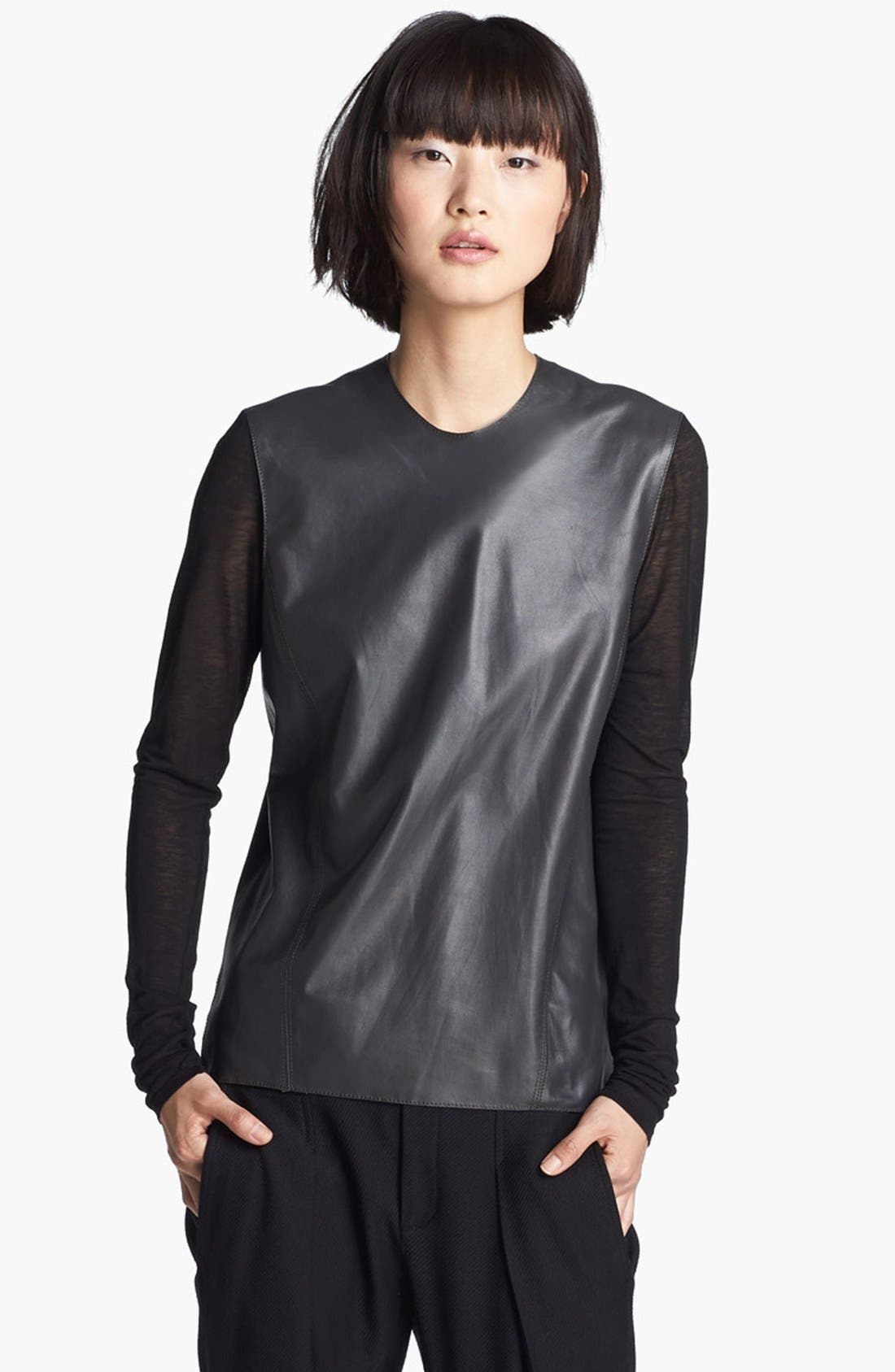 Main Image - Helmut Lang Knit Sleeve Leather Top