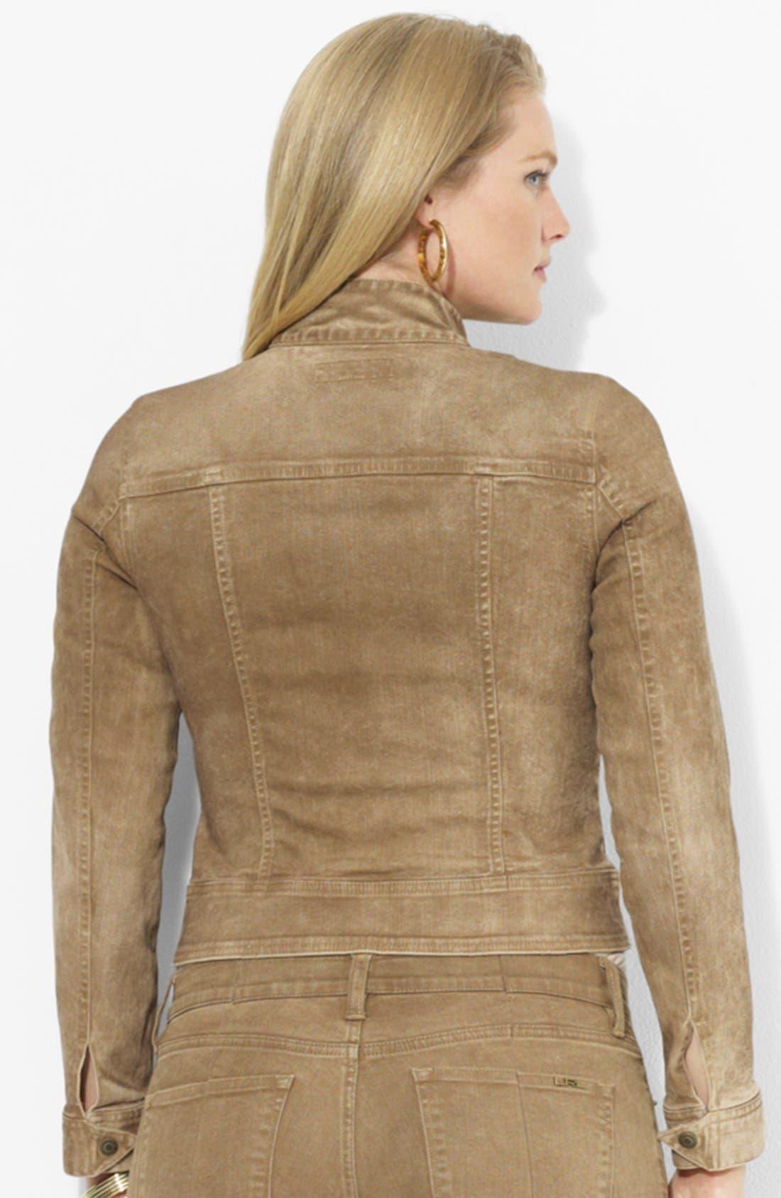 Alternate Image 2  - Lauren Ralph Lauren Leather Trim Denim Jacket (Plus Size)