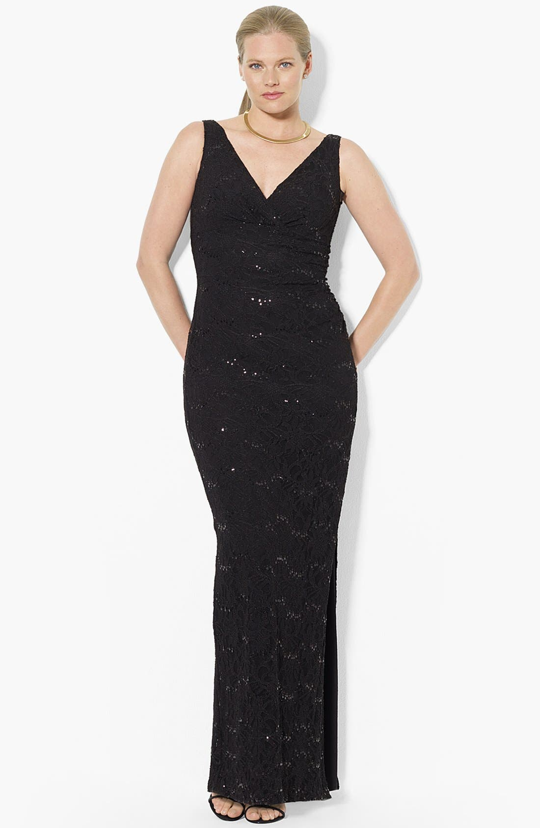 Alternate Image 1 Selected - Lauren Ralph Lauren Sequin Lace Column Gown (Plus Size)