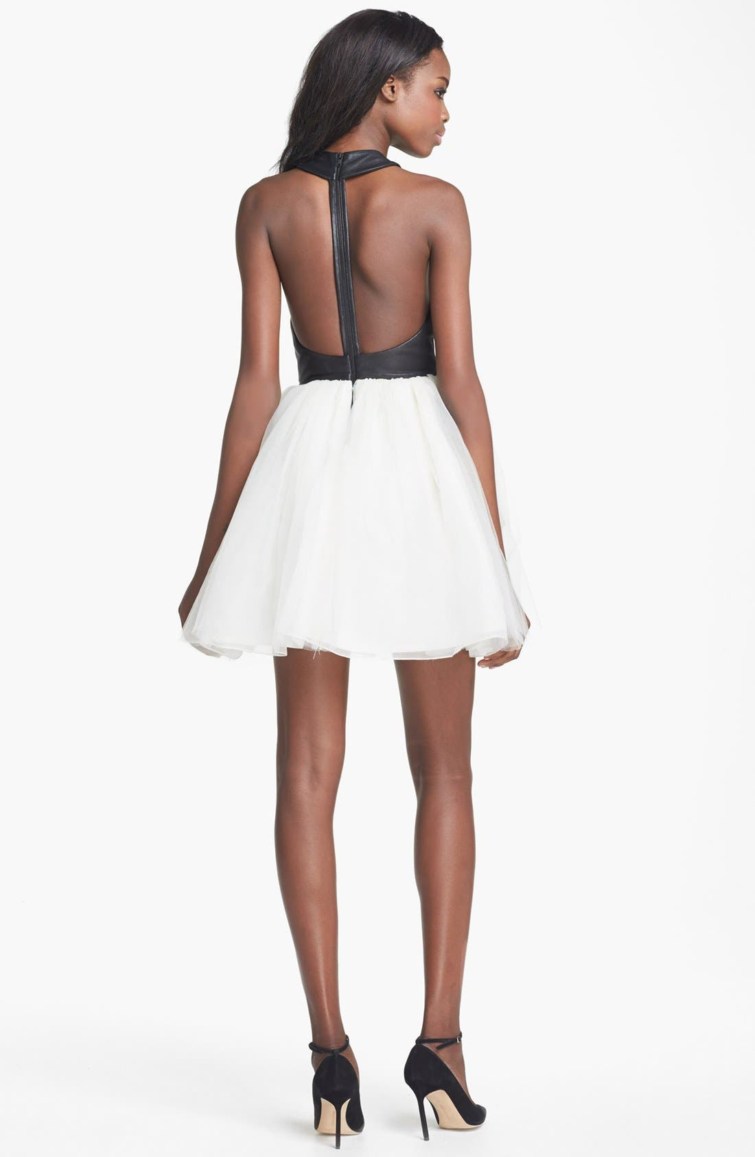 Alternate Image 2  - Alice + Olivia 'Ginnifer' Leather Bodice Party Dress
