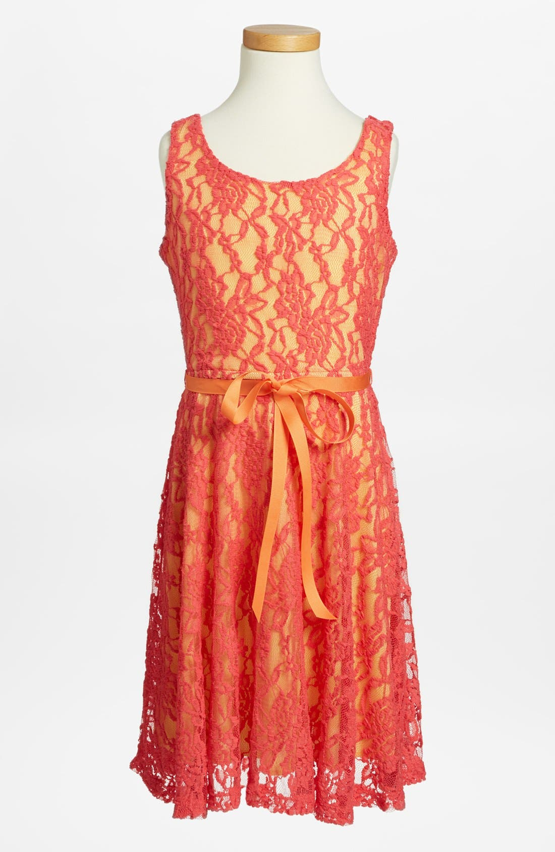 Alternate Image 1 Selected - Zunie Lace Overlay Dress (Big Girls)