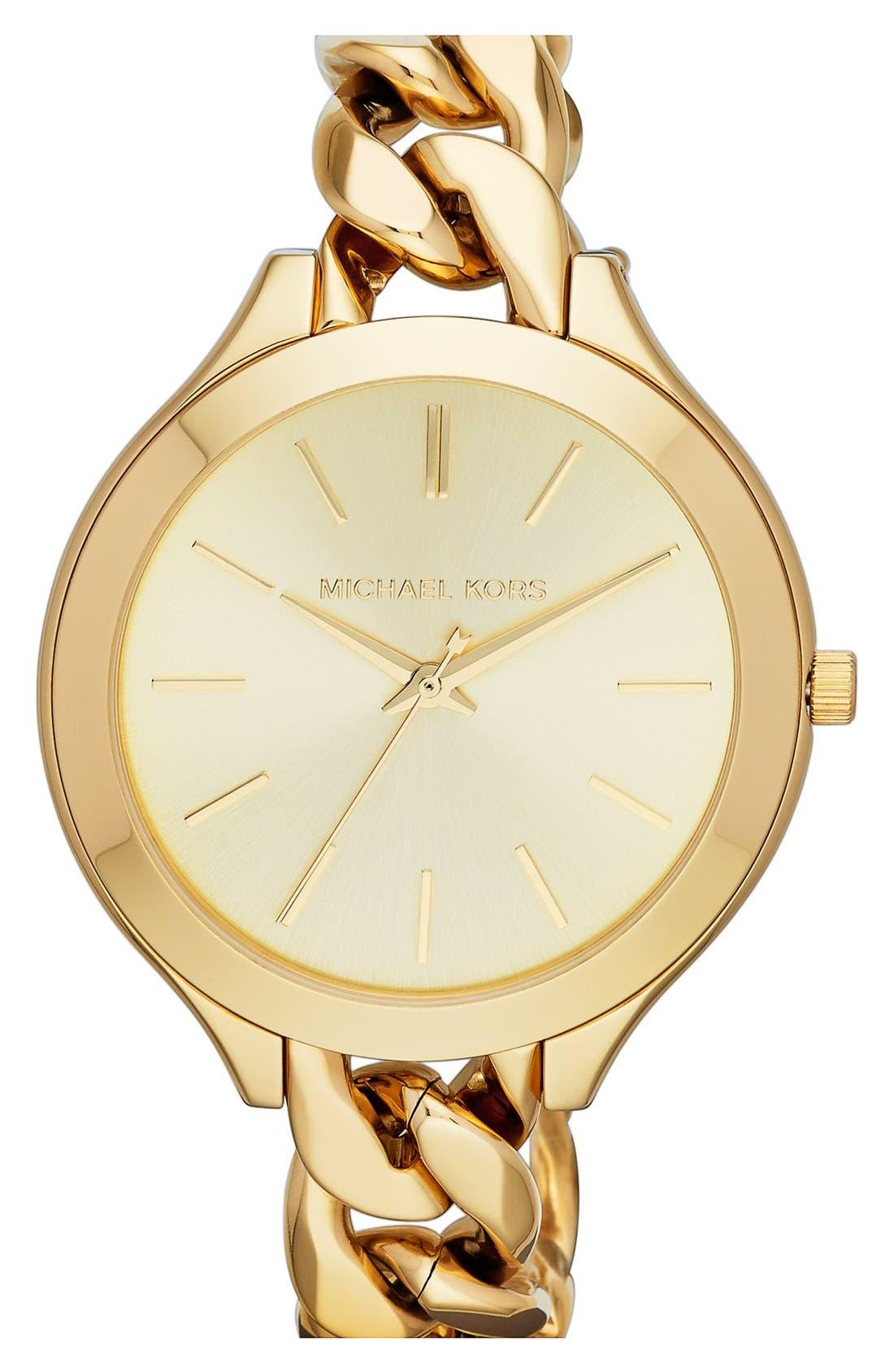 Alternate Image 1 Selected - Michael Kors 'Slim Runway' Chain Bracelet Watch, 42mm