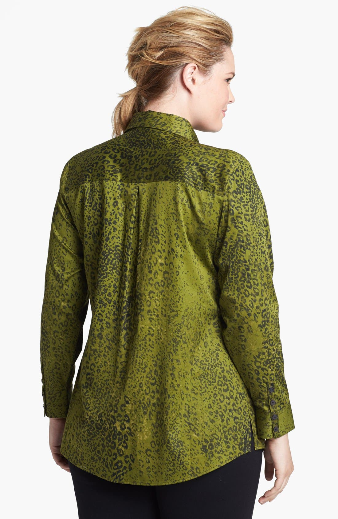 Alternate Image 2  - Foxcroft 'Safari Leopard' Shaped Shirt (Plus Size)