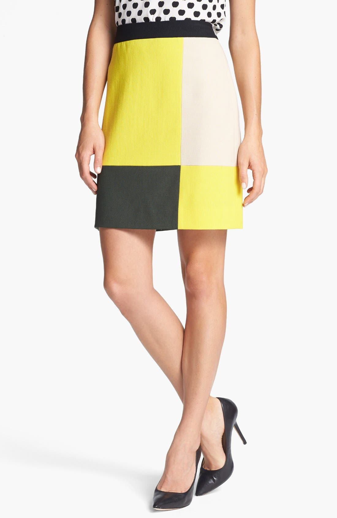 Alternate Image 1 Selected - kate spade new york 'cissy' colorblock stretch wool skirt