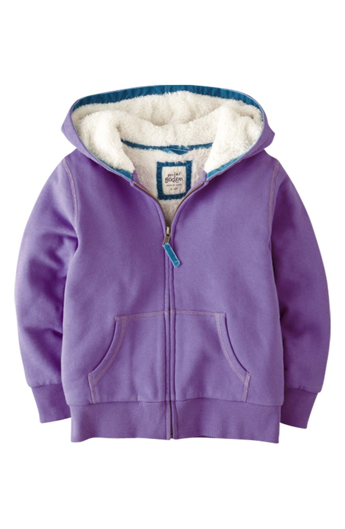 Alternate Image 1 Selected - Mini Boden 'Shaggy' Lined Jacket (Toddler Girls)
