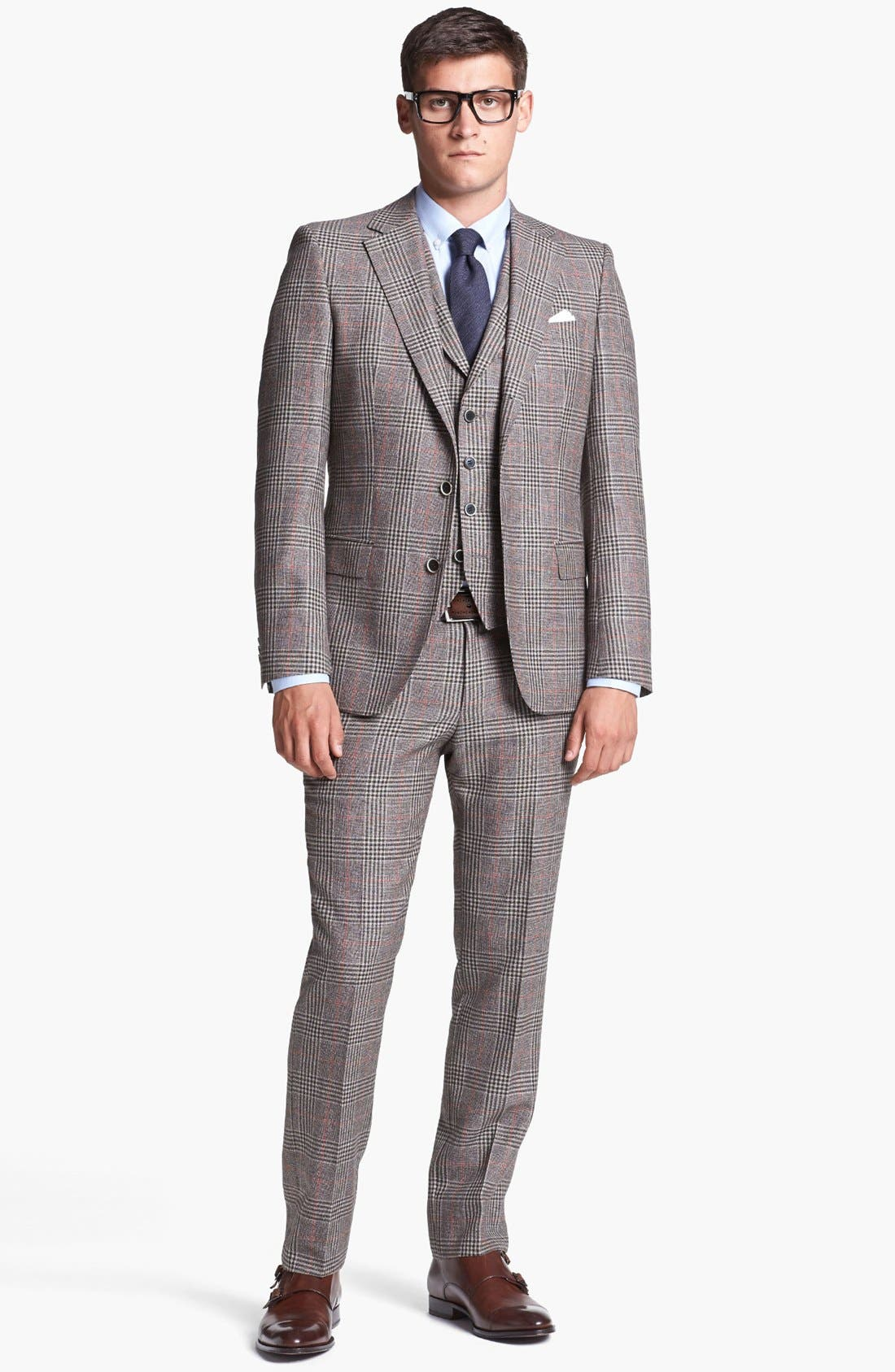 Alternate Image 1 Selected - BOSS HUGO BOSS 'Dunham/Knight' Trim Fit Three Piece Suit (Online Only)