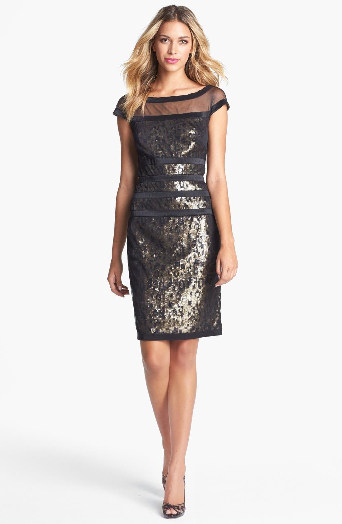 Alternate Image 1 Selected - Tadashi Shoji Illusion Sequin Sheath Dress