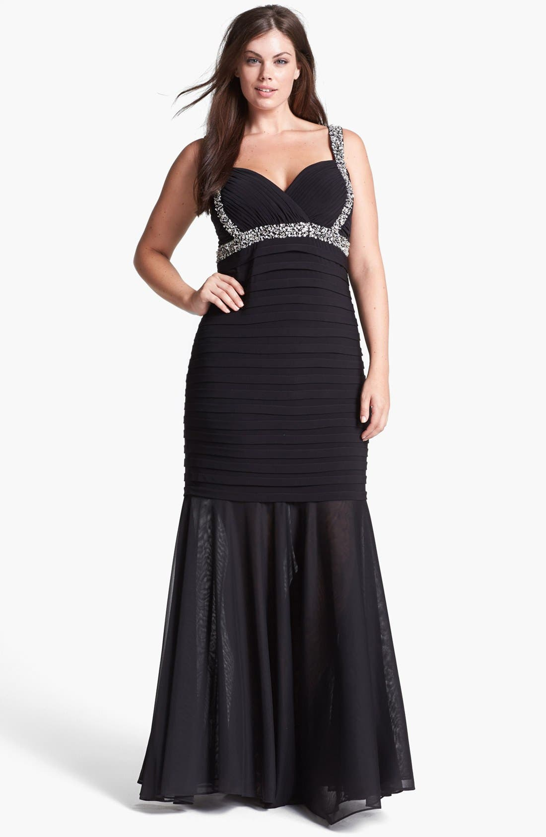 Main Image - Betsy & Adam Embellished Shutter Pleat Mermaid Gown (Plus Size)