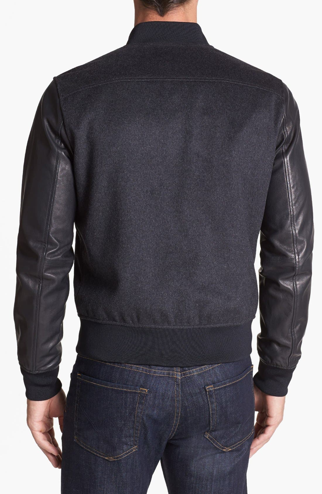 Alternate Image 2  - Michael Kors 'Melton' Leather Sleeve Jacket