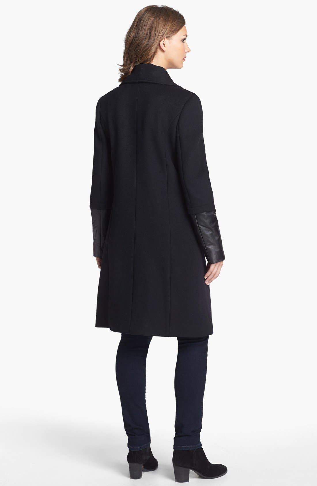 Alternate Image 2  - Elie Tahari 'Carlotta' Leather Trim Wool Blend Coat