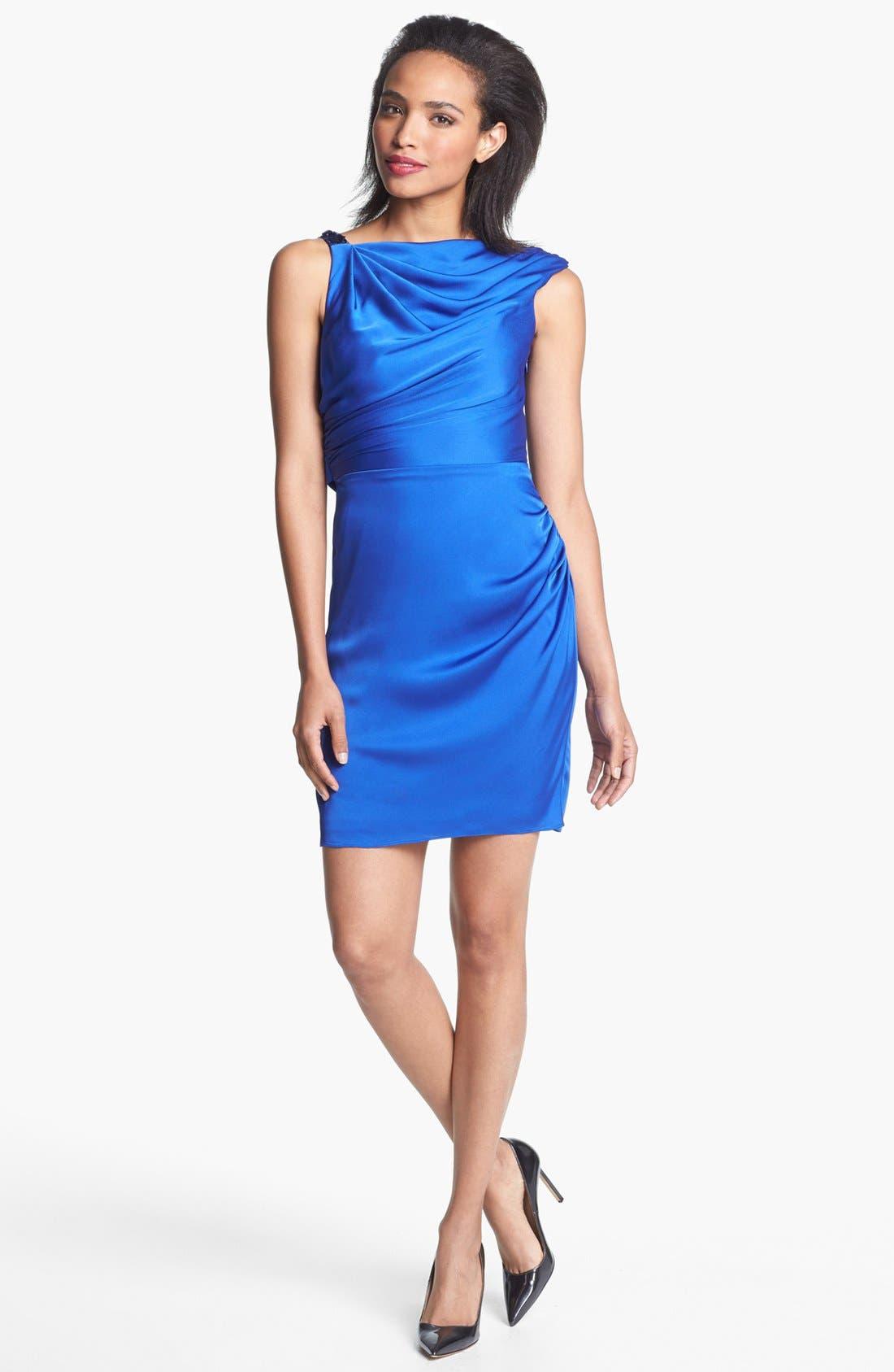 Main Image - Aidan Mattox Embellished Draped Satin Sheath Dress (Online Only)