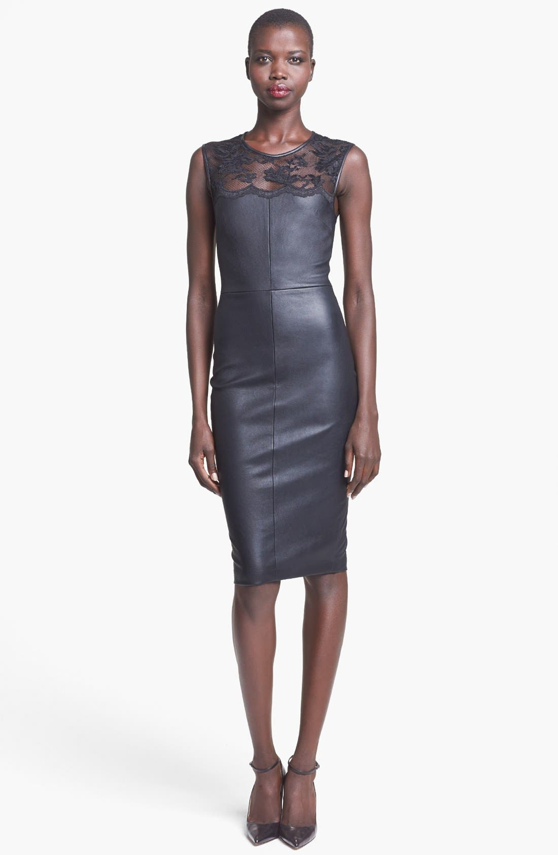 Main Image - Robert Rodriguez Lace Detail Stretch Leather Dress