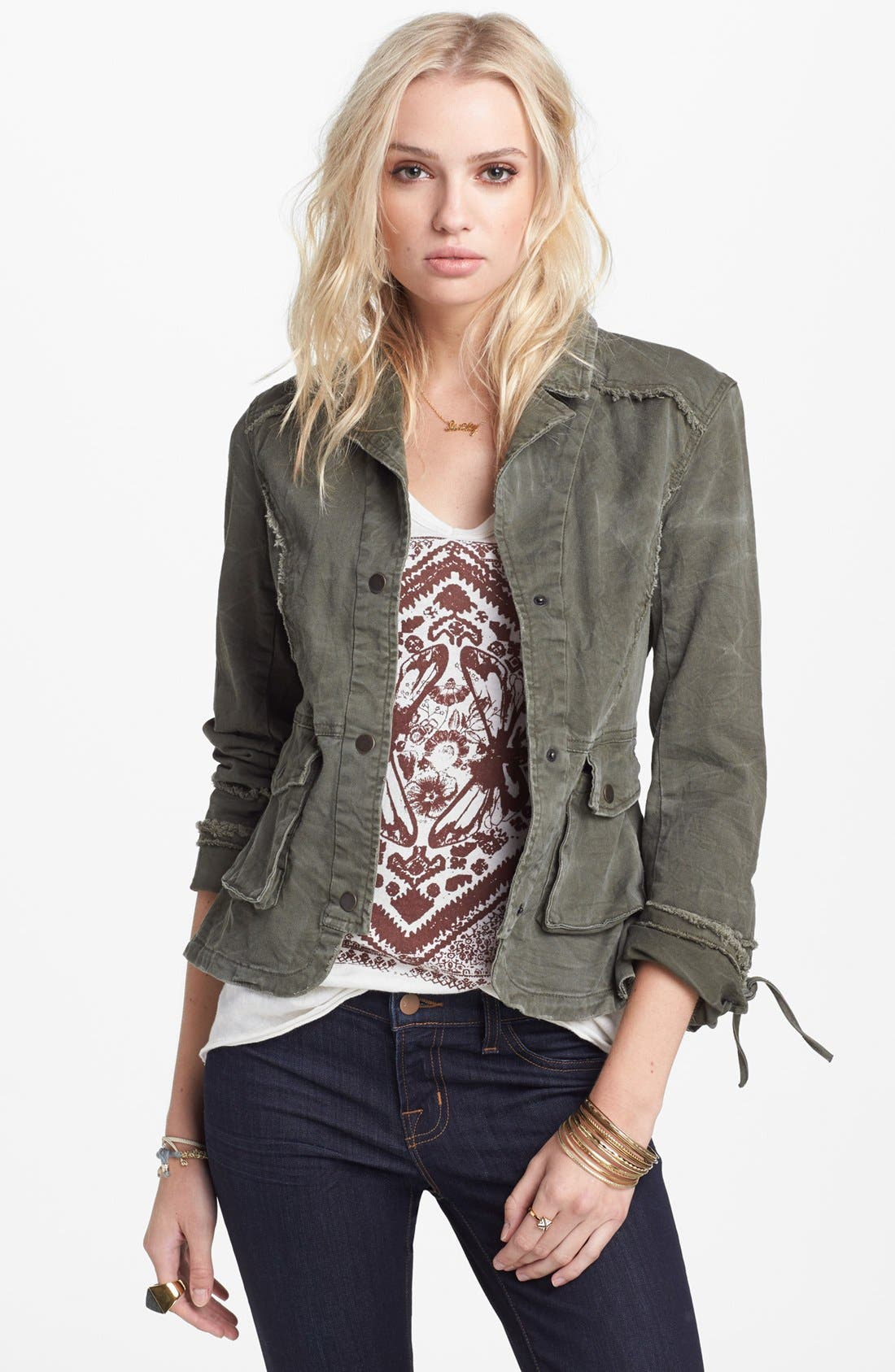 Main Image - Free People Ruffle Hem Twill Jacket