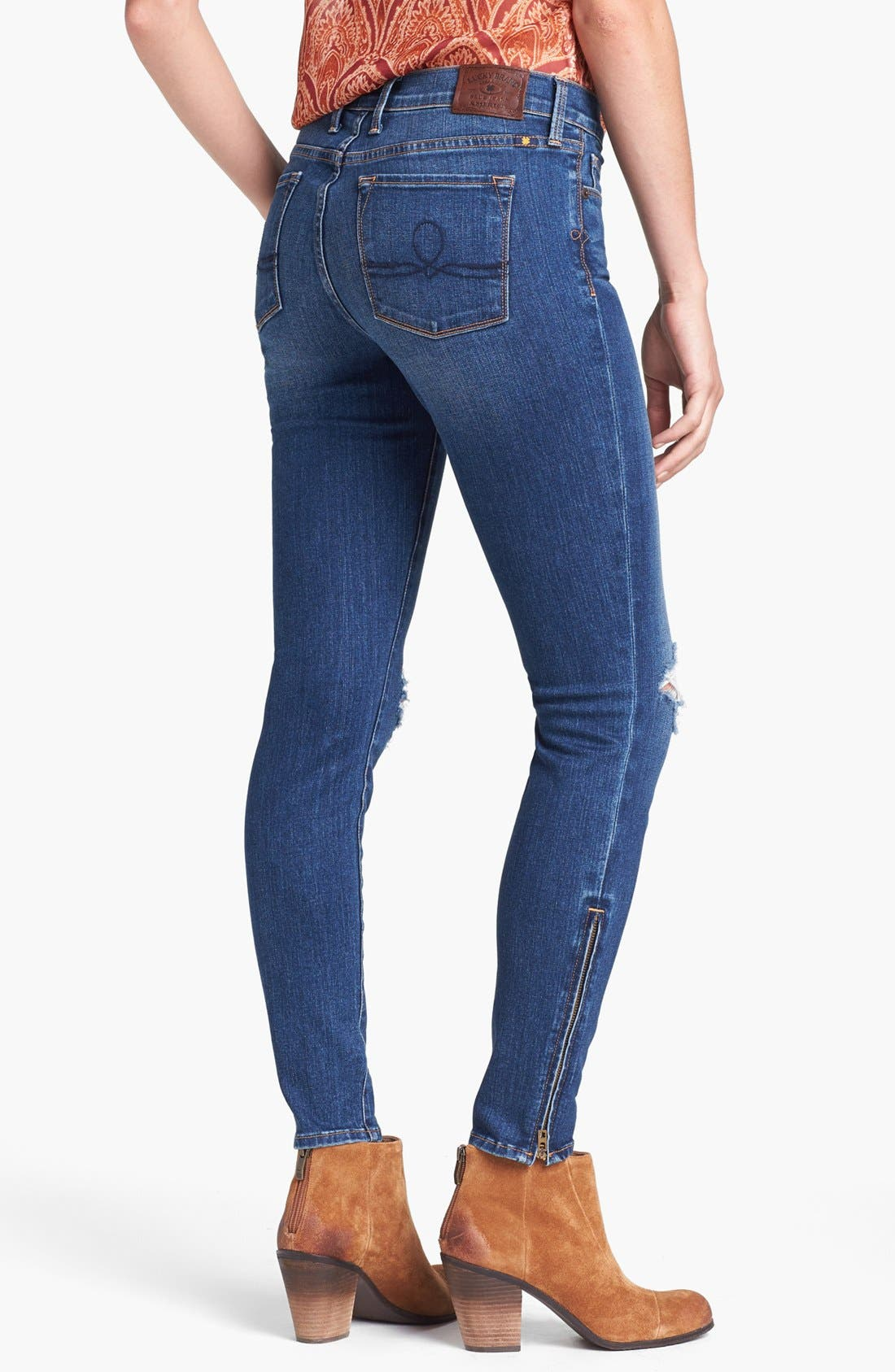 Alternate Image 2  - Lucky Brand 'Sofia' Destroyed Ankle Zip Skinny Jeans (Possum Trot)