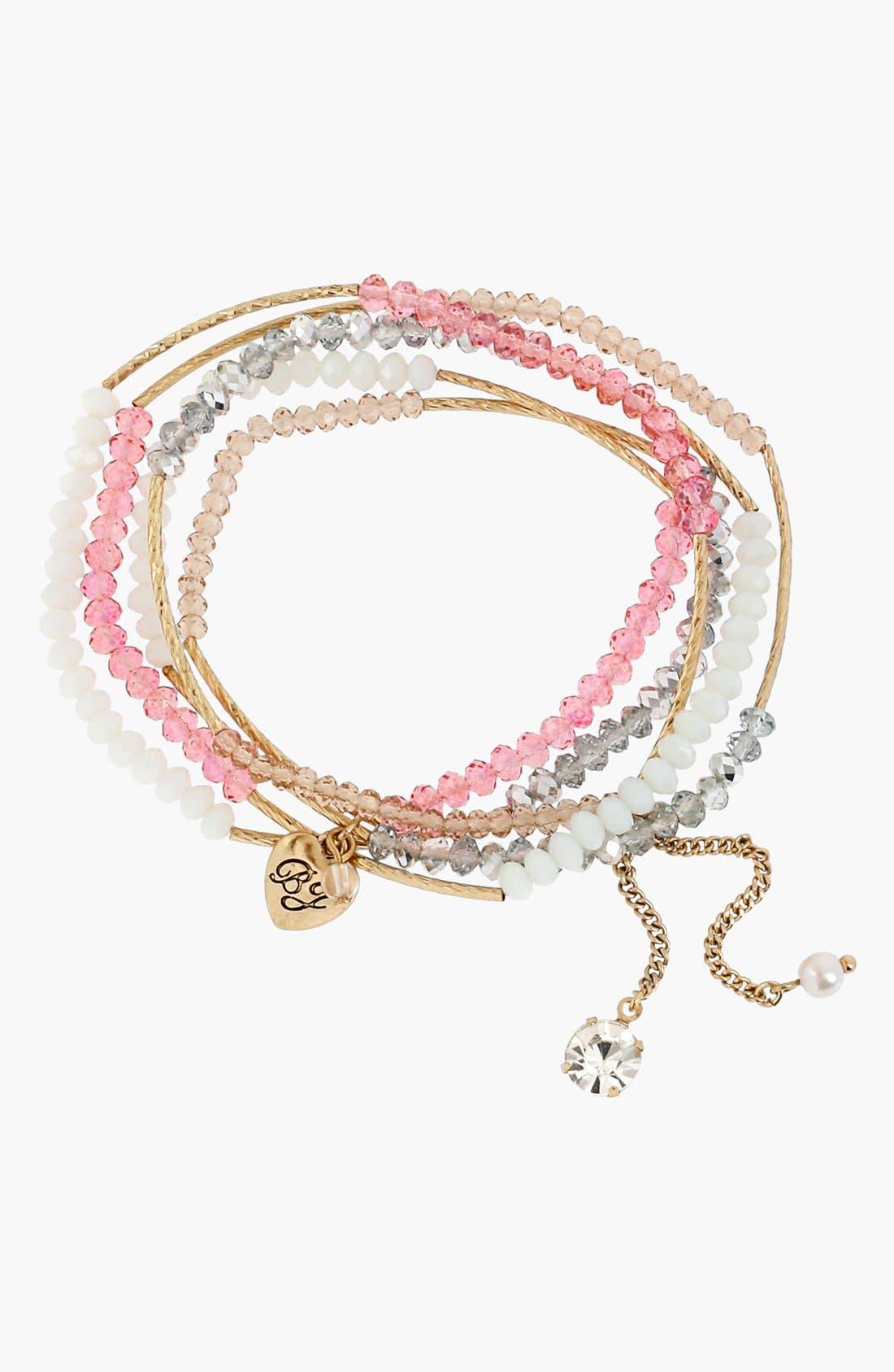 Main Image - Betsey Johnson 'Paris' Multi Row Beaded Charm Bracelet