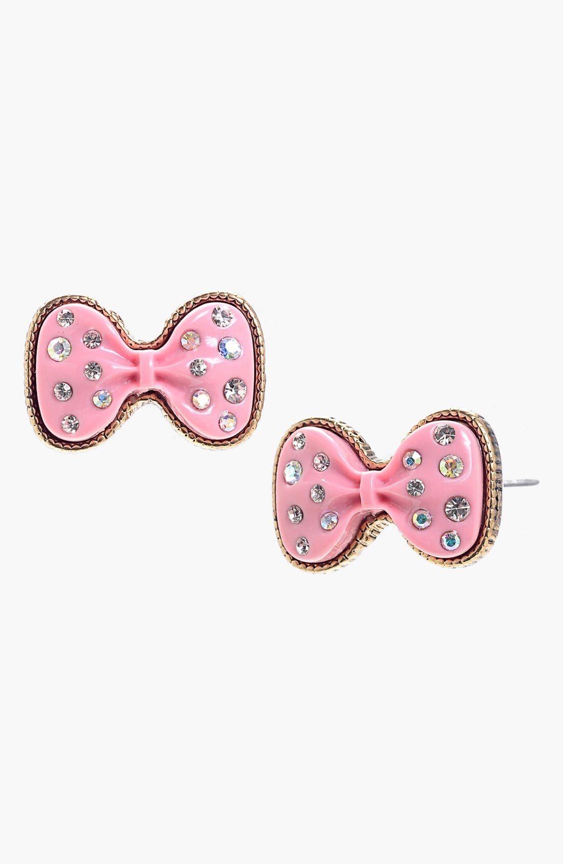 Alternate Image 1 Selected - Betsey Johnson Glitter Bow Stud Earrings