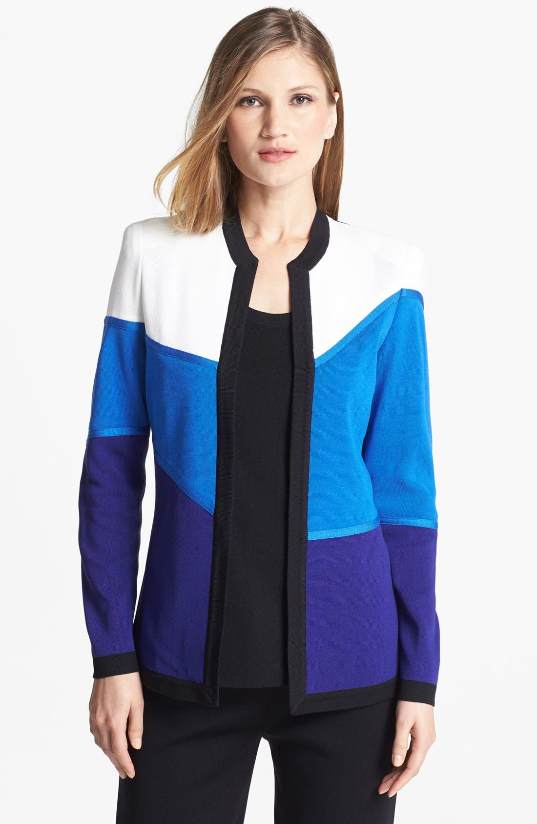 Main Image - Misook 'Paulie' Colorblock Knit Jacket