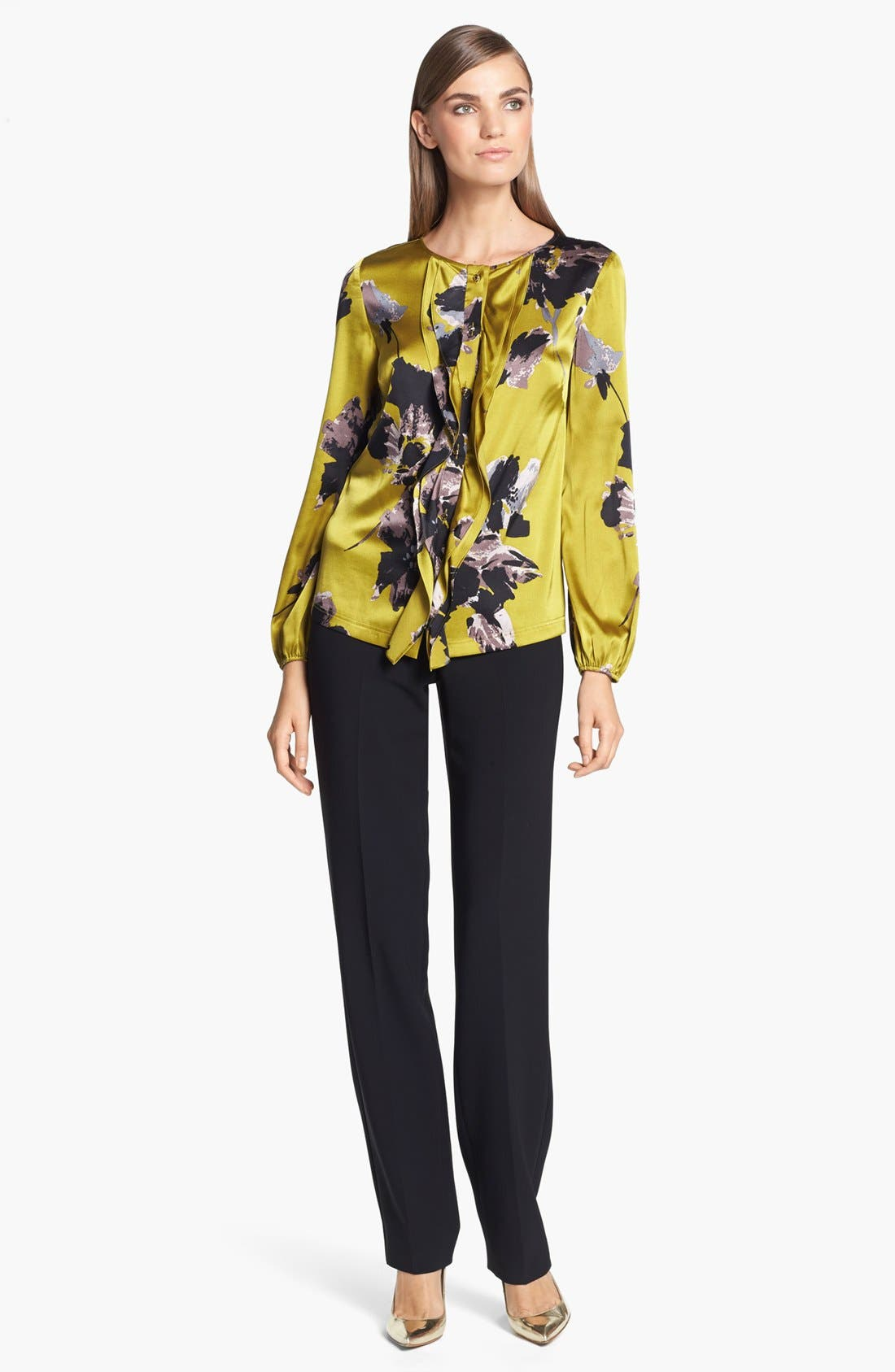 Alternate Image 2  - St. John Collection Bouquet Print Silk Charmeuse Blouse