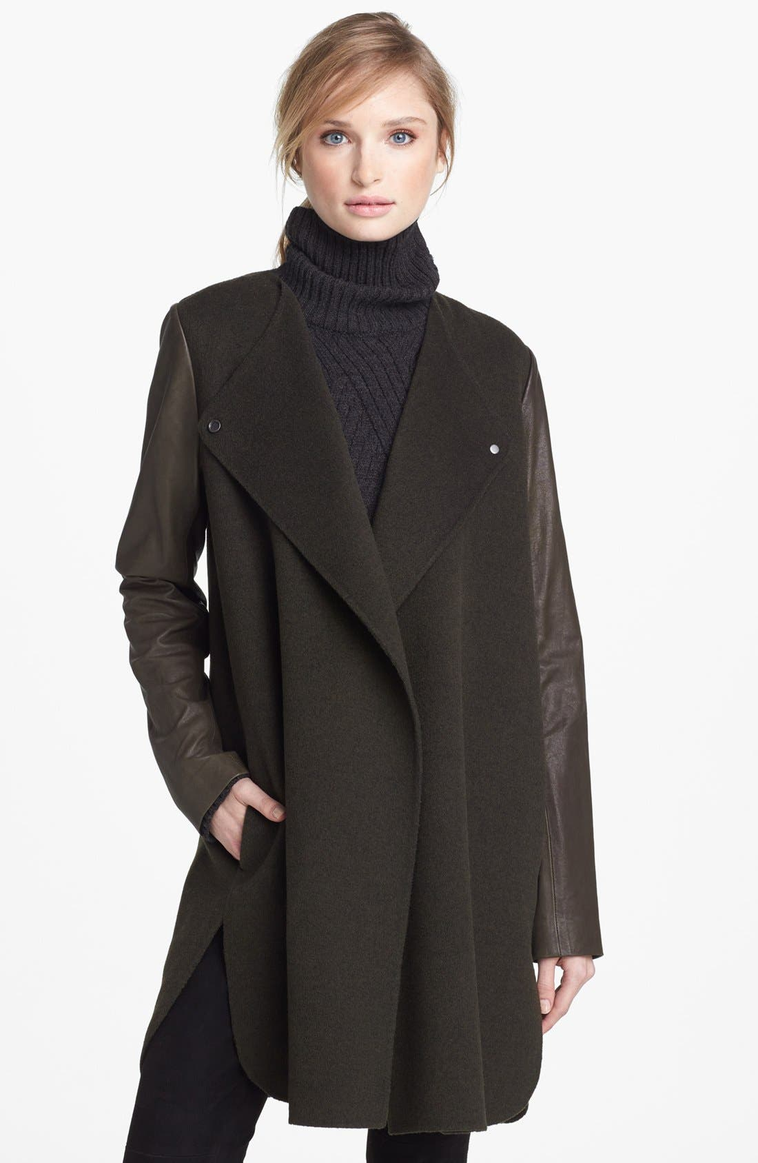 Main Image - Vince Leather Sleeve Double Face Wool Coat