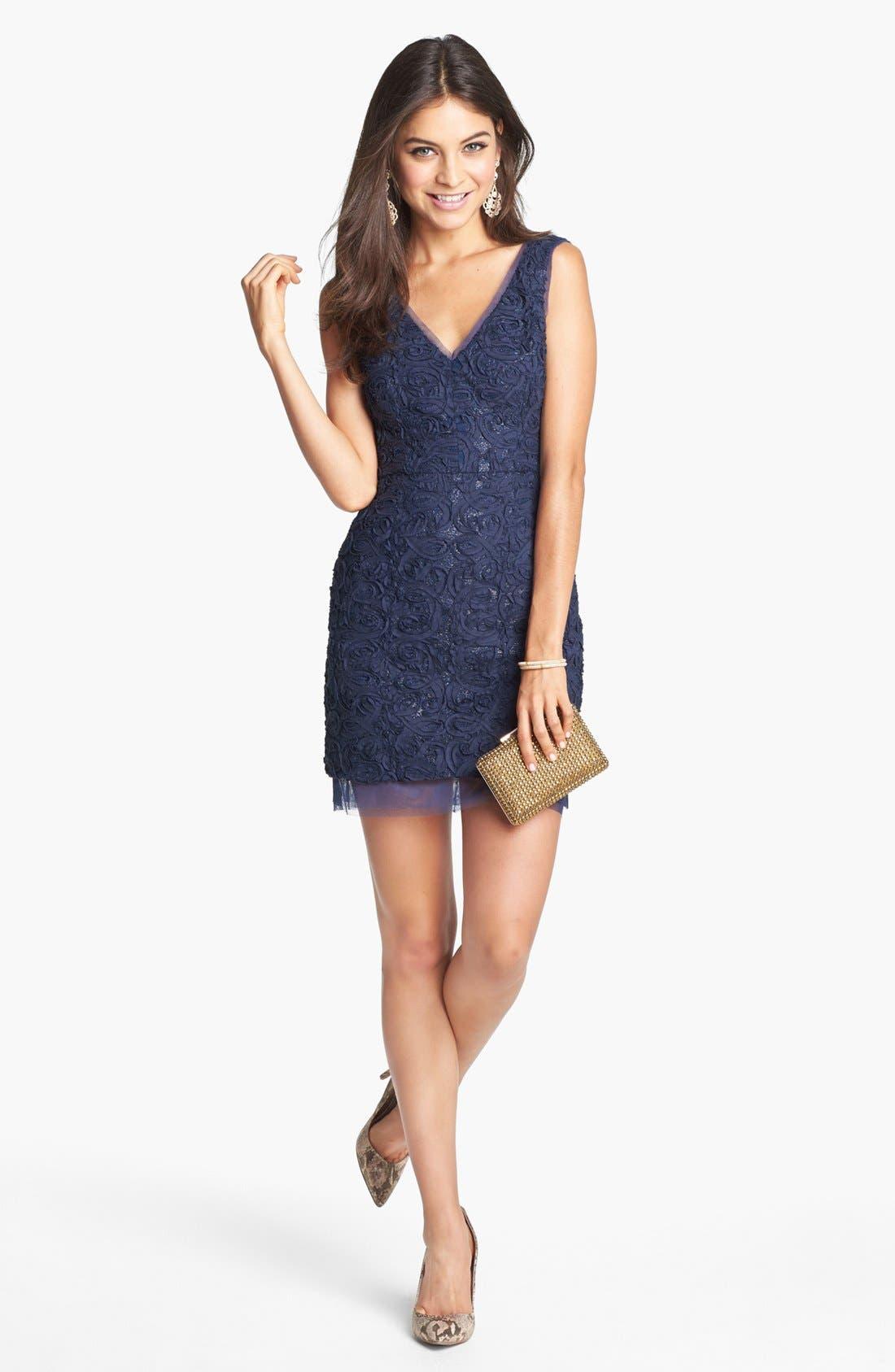 Main Image - BCBGMAXAZRIA 'Marissa' Rosette Embellished Sheath Dress