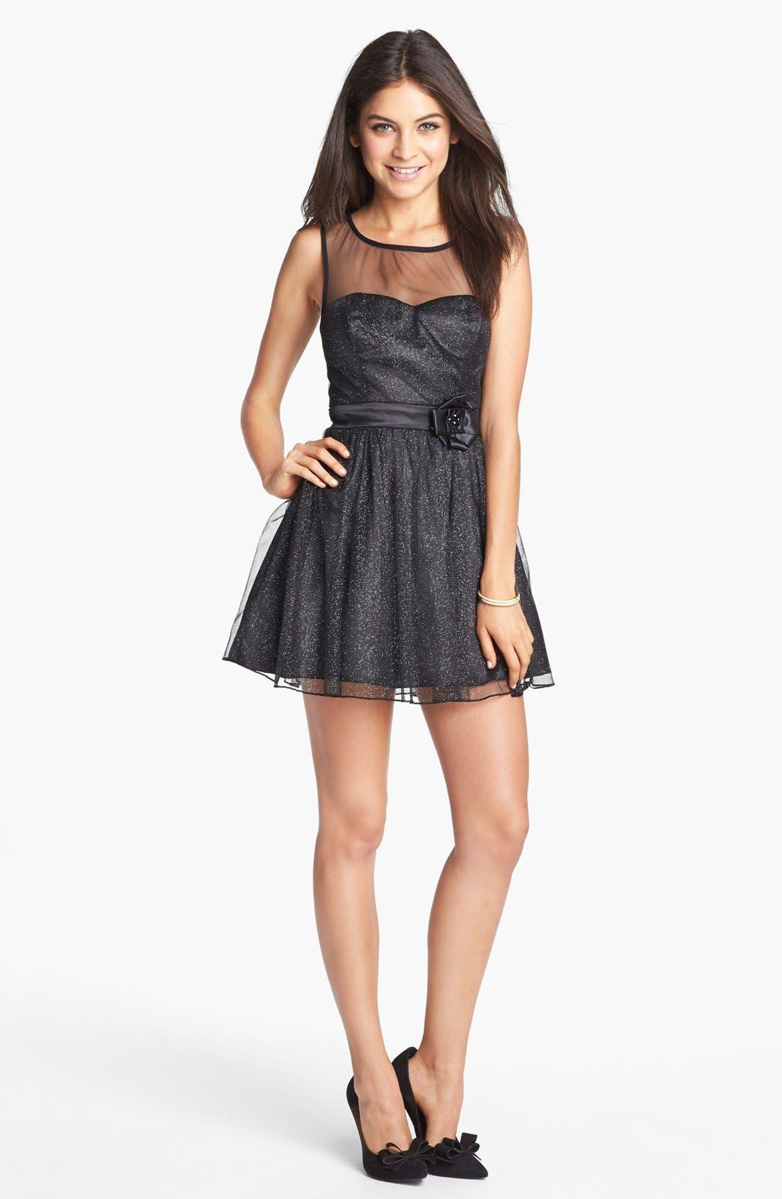Main Image - Trixxi Illusion Yoke Glitter Fit & Flare Dress (Juniors) (Online Only)