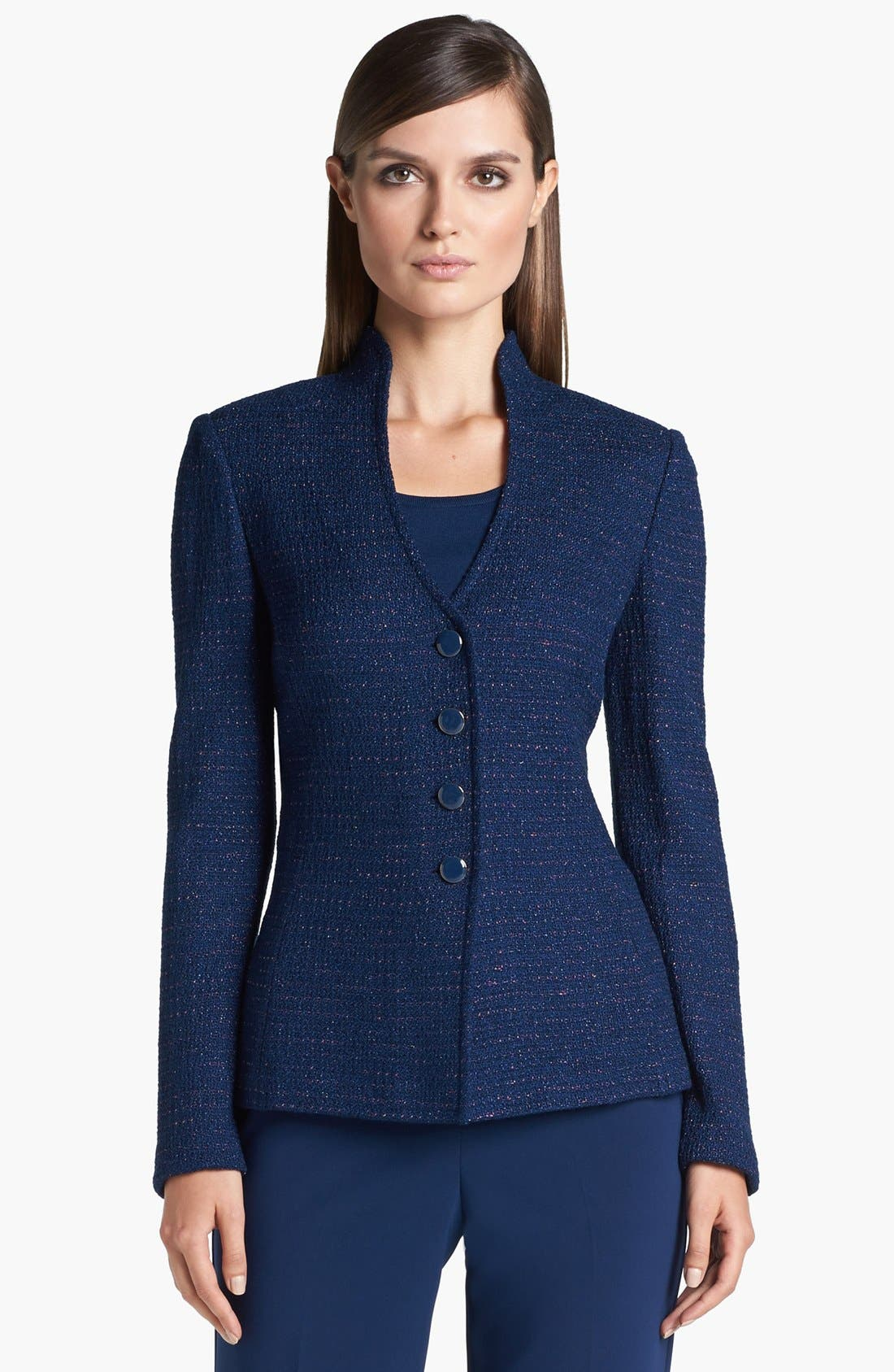 Main Image - St. John Collection Novelty Dot Tweed Fitted Jacket