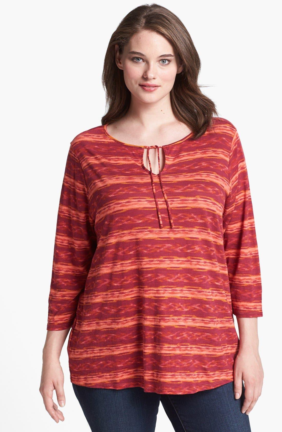 Alternate Image 4  - Lucky Brand 'Amber' Stripe Top (Plus Size)