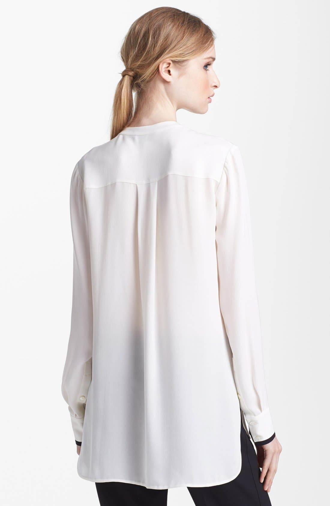 Alternate Image 2  - Vince Long Sleeve Contrast Placket Silk Blouse