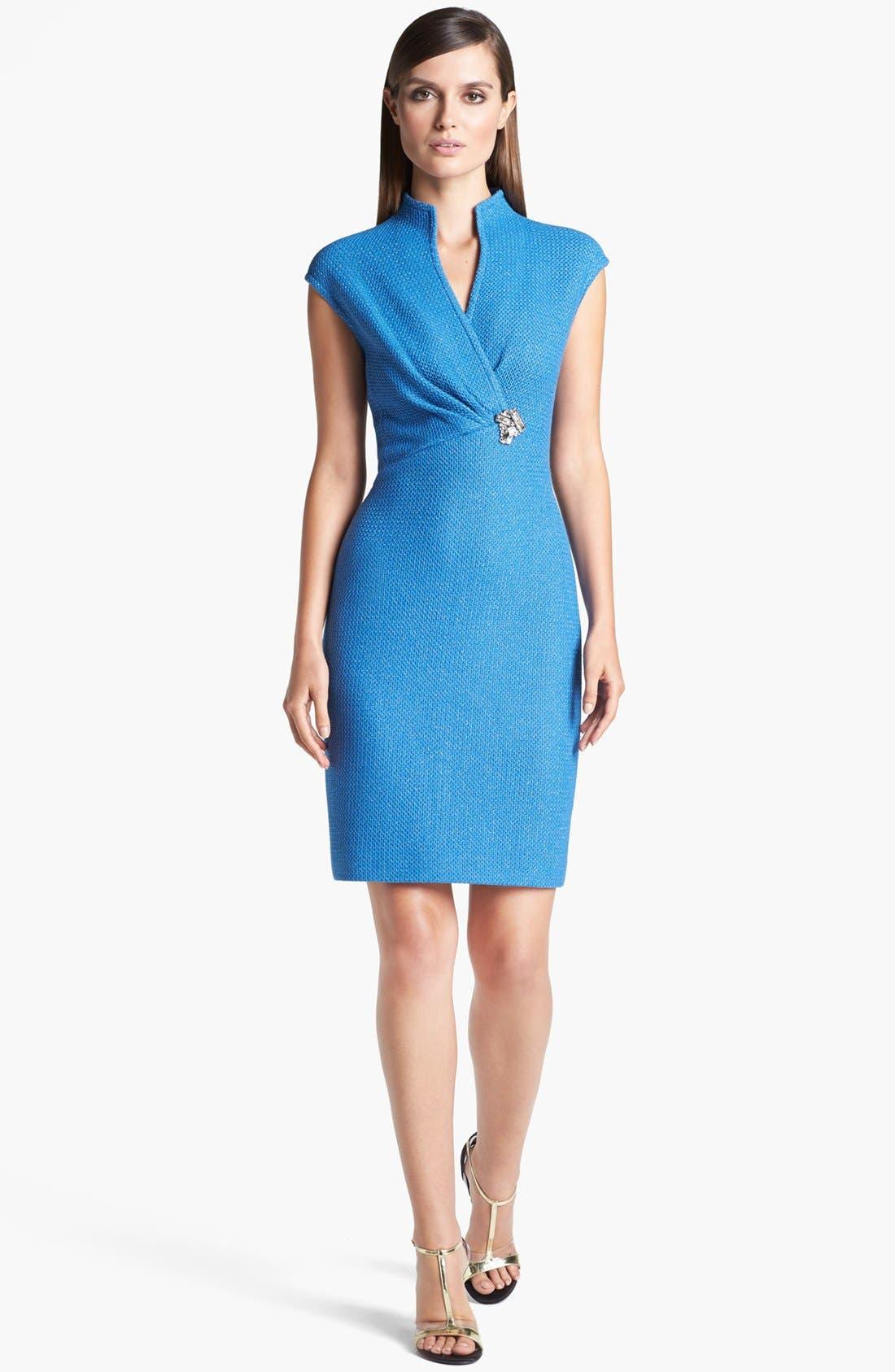 Main Image - St. John Collection Cap Sleeve Metallic Lattice Knit Dress