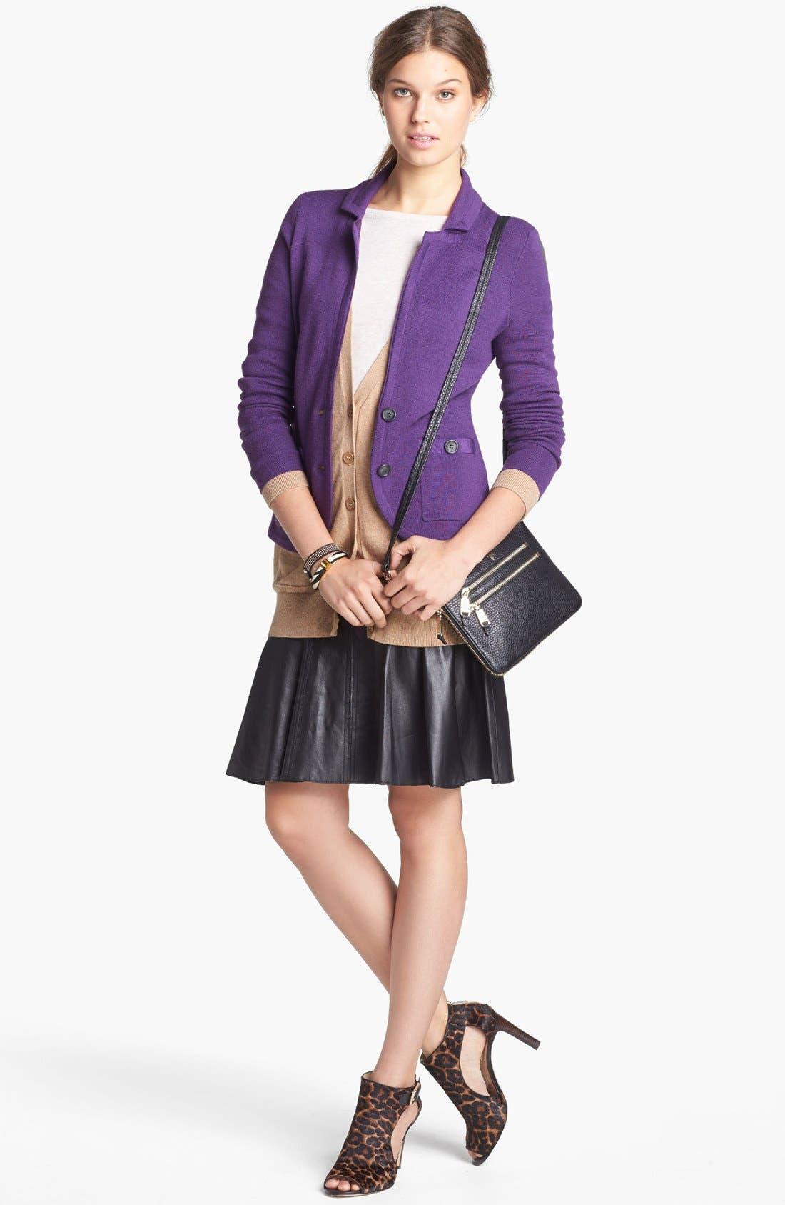 Alternate Image 2  - Halogen® Sweater Jacket, Cardigan Leather Skirt & Caslon® Tee