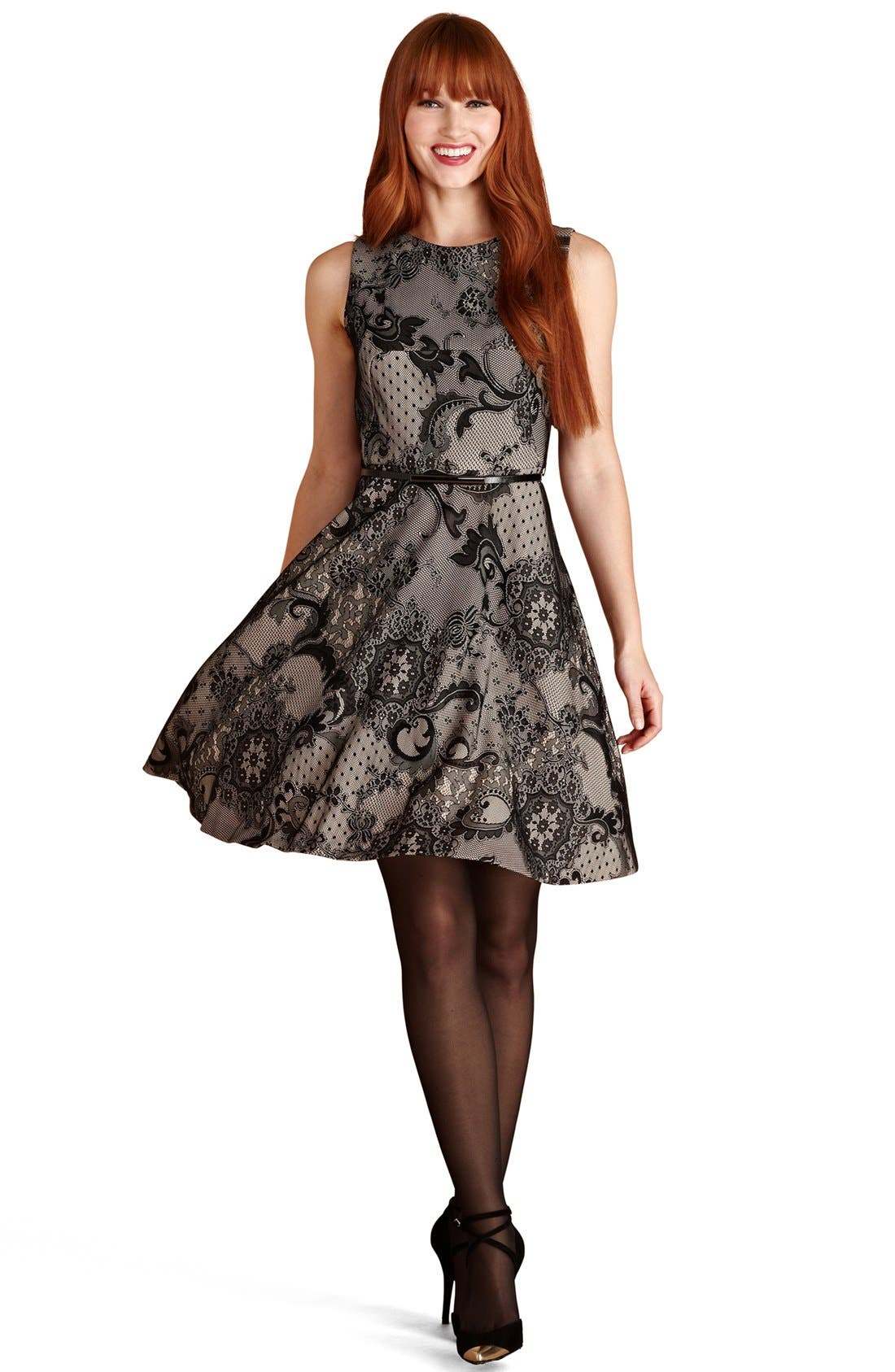 Main Image - Donna Morgan Lace Fit & Flare Dress