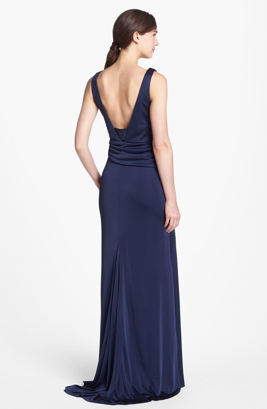 Alternate Image 2  - ML Monique Lhuillier Embellished Draped Satin Gown