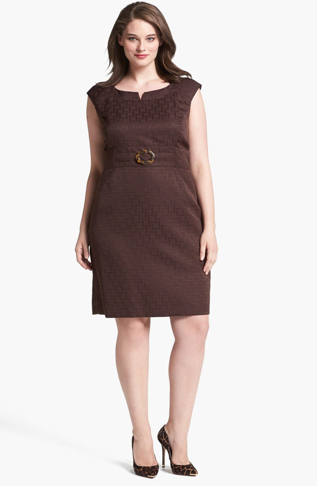Main Image - Tahari Jacquard Sheath Dress (Plus Size)