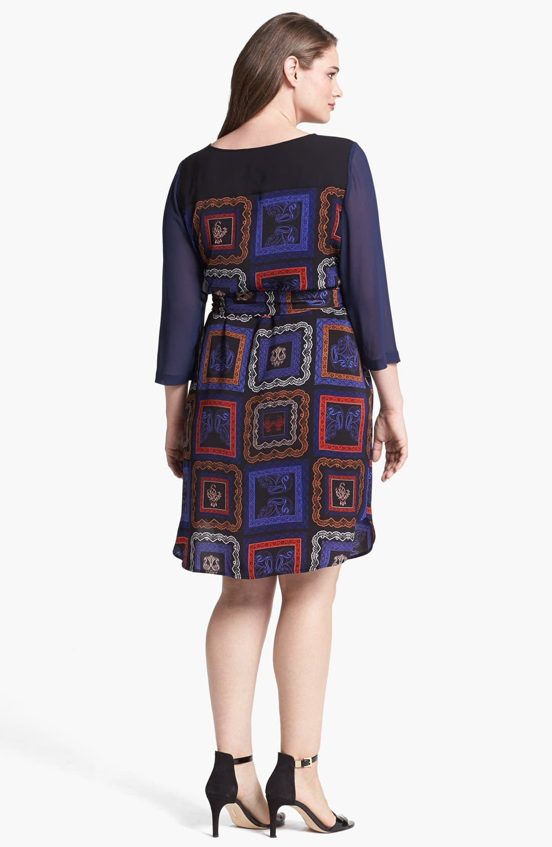 Alternate Image 2  - DKNYC Print Chiffon Shirtdress (Plus Size)
