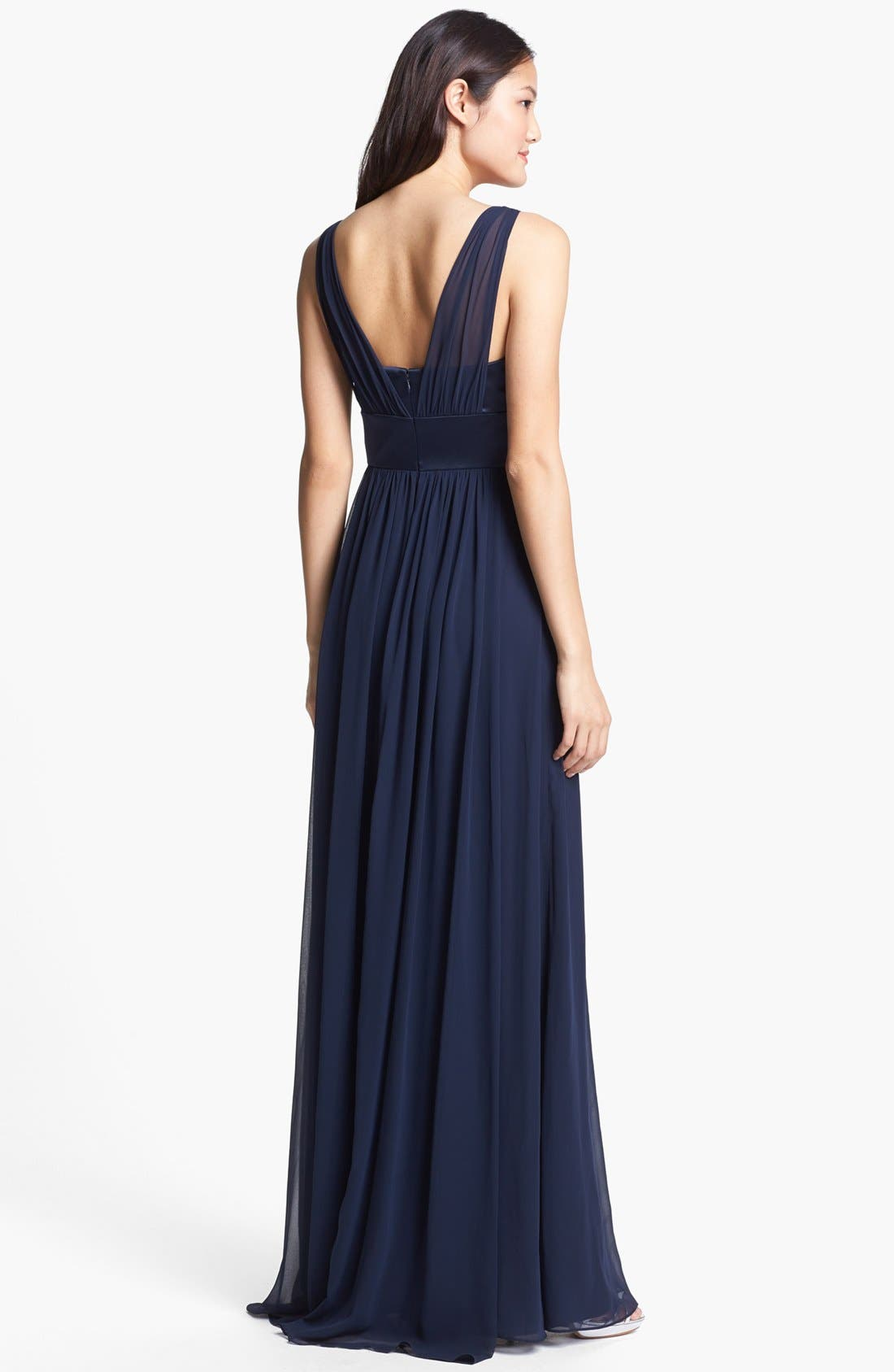 Alternate Image 2  - Dessy Collection Satin & Chiffon Dress