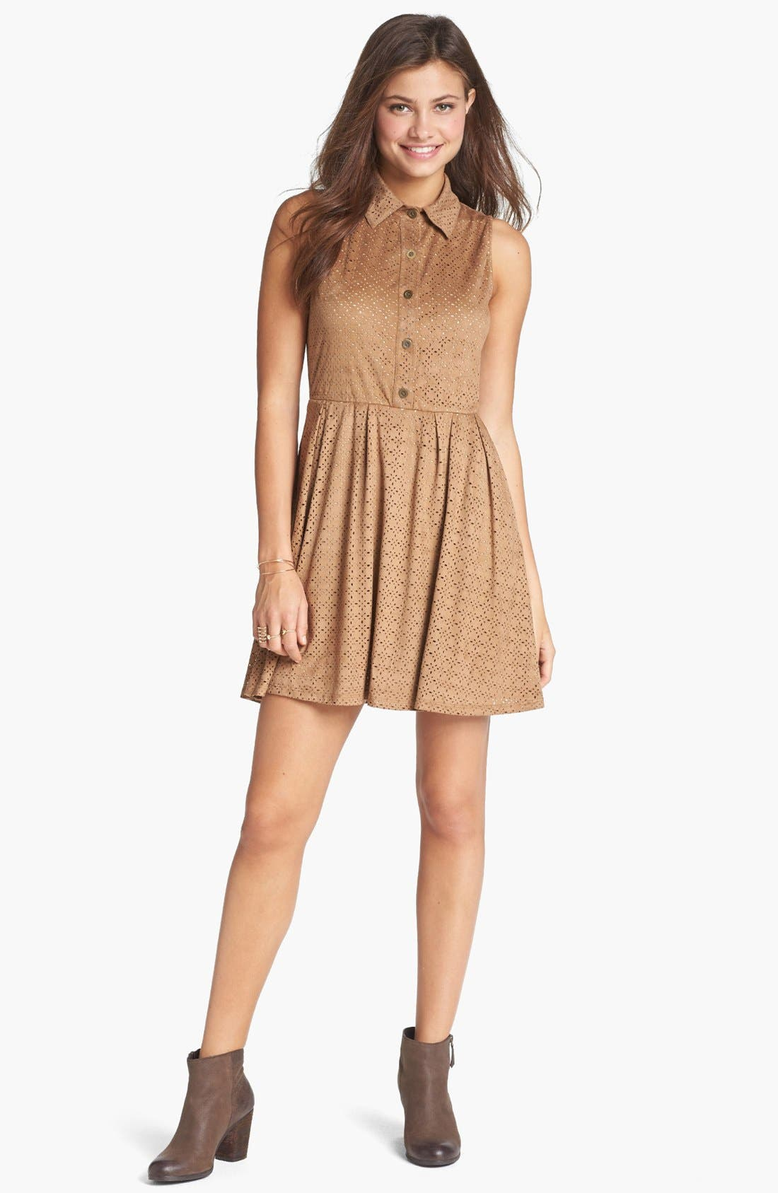 Main Image - Mimi Chica Laser Cut Faux Suede Shirtdress (Juniors)