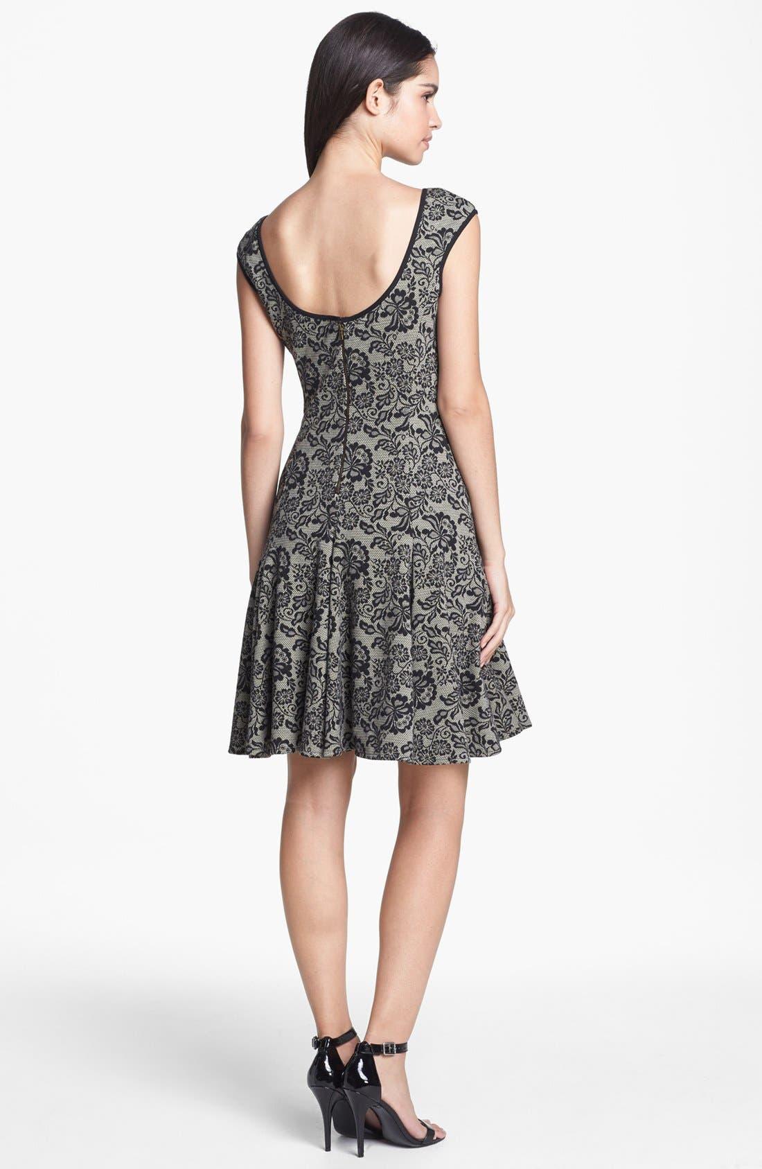 Alternate Image 2  - Maggy London Lace Print Jacquard Fit & Flare Dress (Petite)