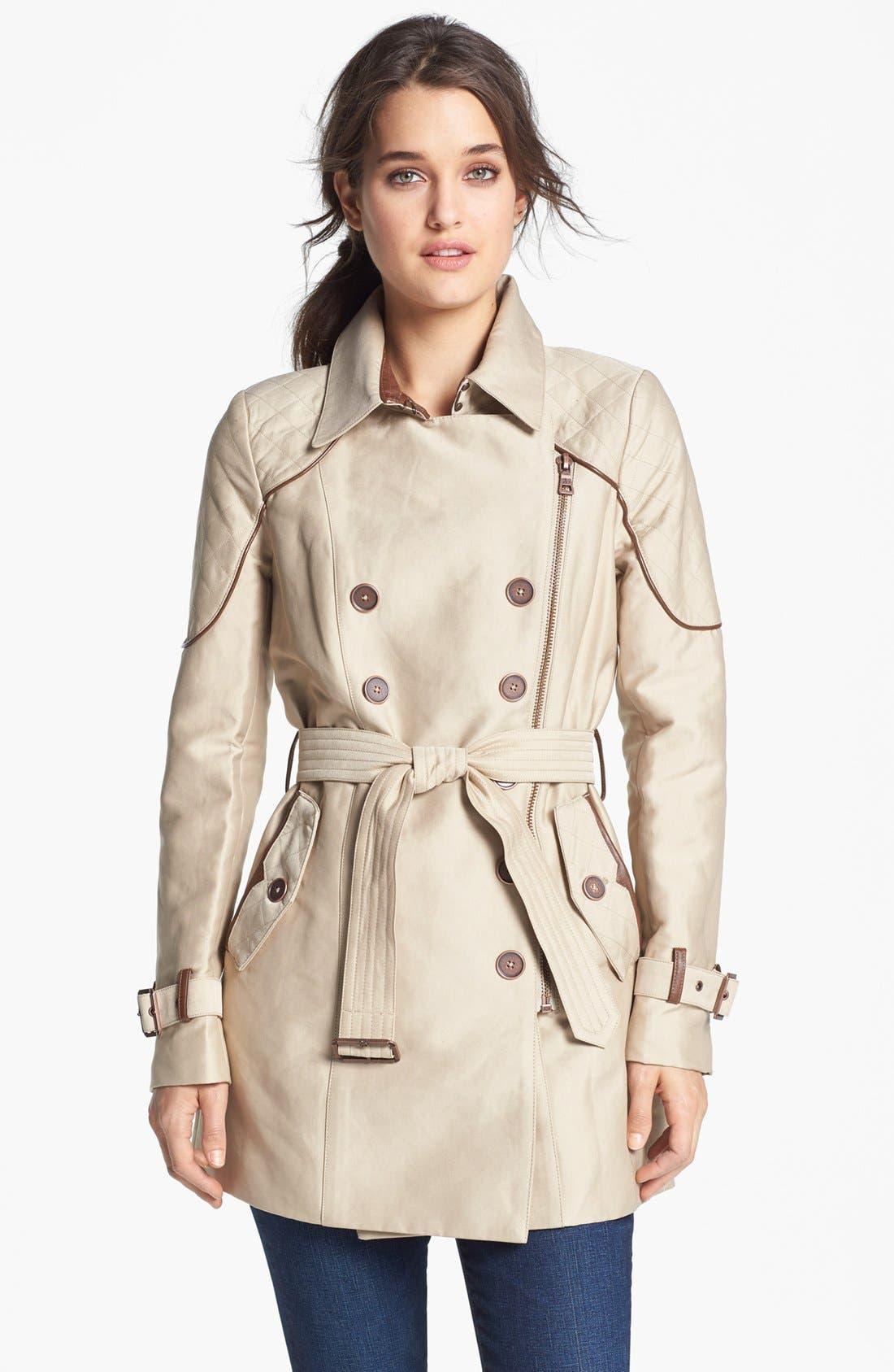 Alternate Image 1 Selected - Sam Edelman Quilted Shoulder Trench Coat
