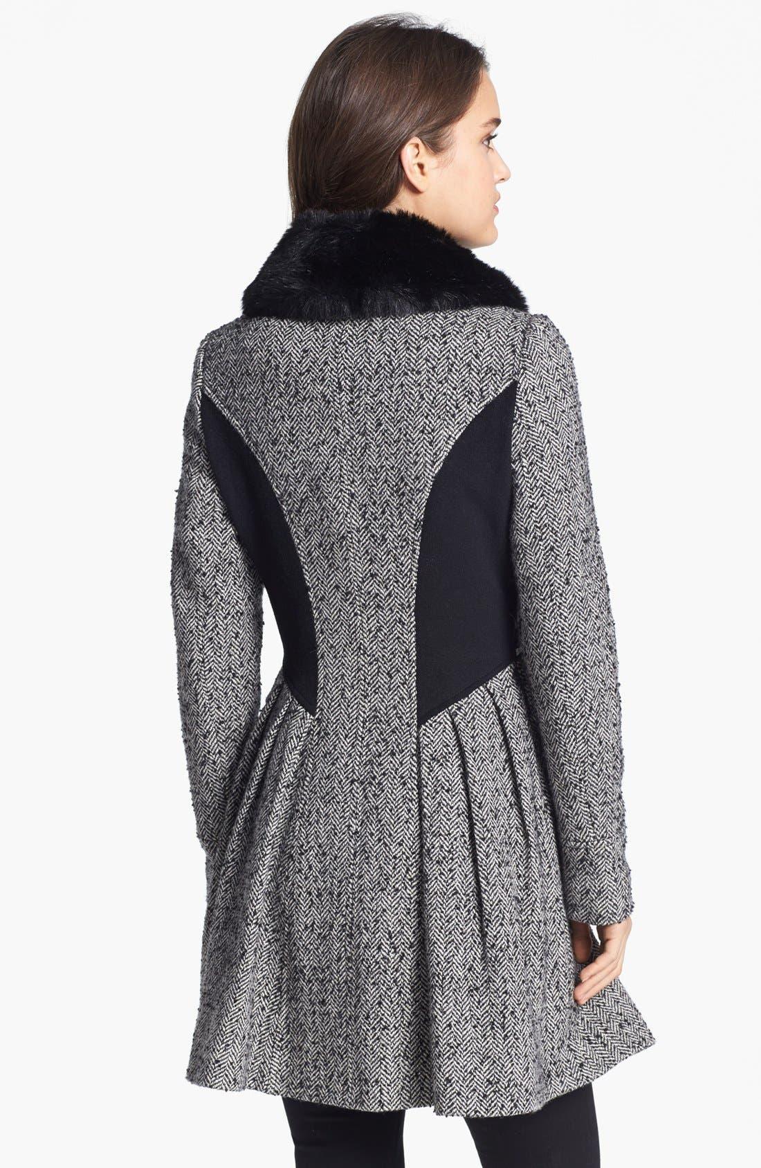 Alternate Image 4  - Betsey Johnson Faux Fur Collar Tweed Coat