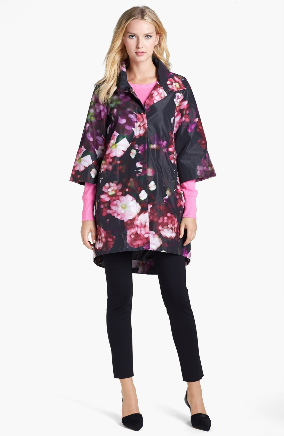 Alternate Image 1 Selected - Pink Tartan Swing Coat & Cashmere Sweater, Elie Tahari Knit Pants