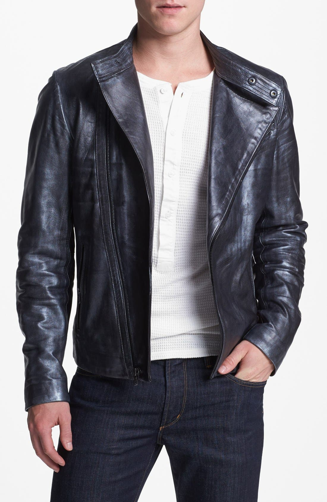 Main Image - Kenneth Cole Collection Metallic Leather Moto Jacket