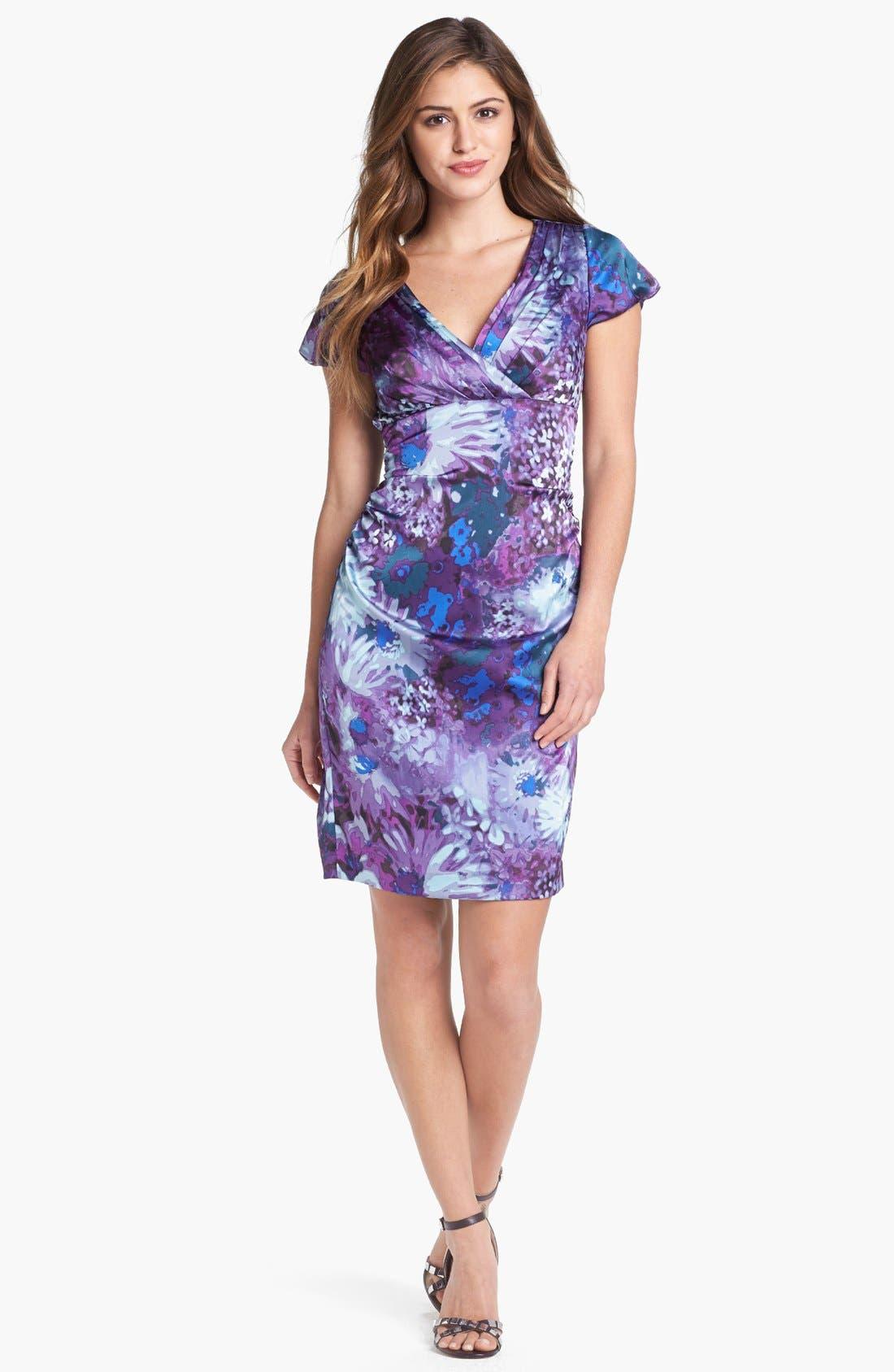 Main Image - Ivy & Blu Print Satin Sheath Dress (Petite)