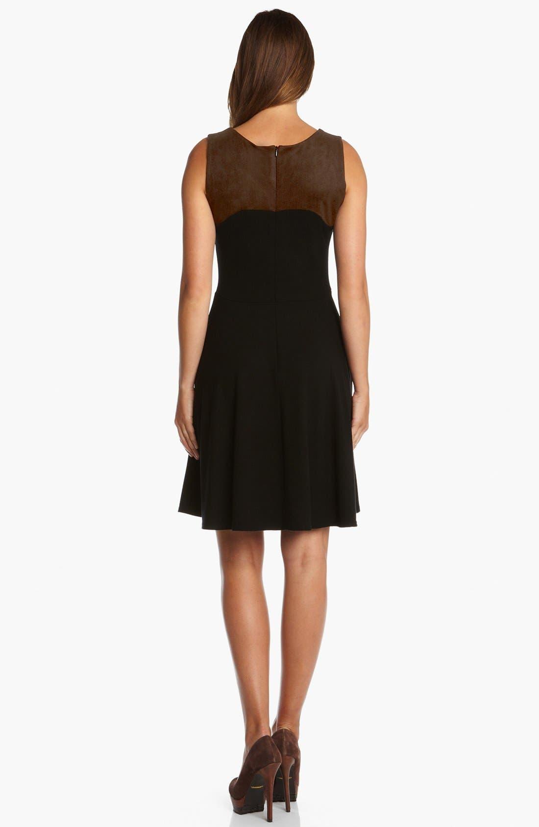Alternate Image 2  - Karen Kane Faux Suede Panel Flare Dress