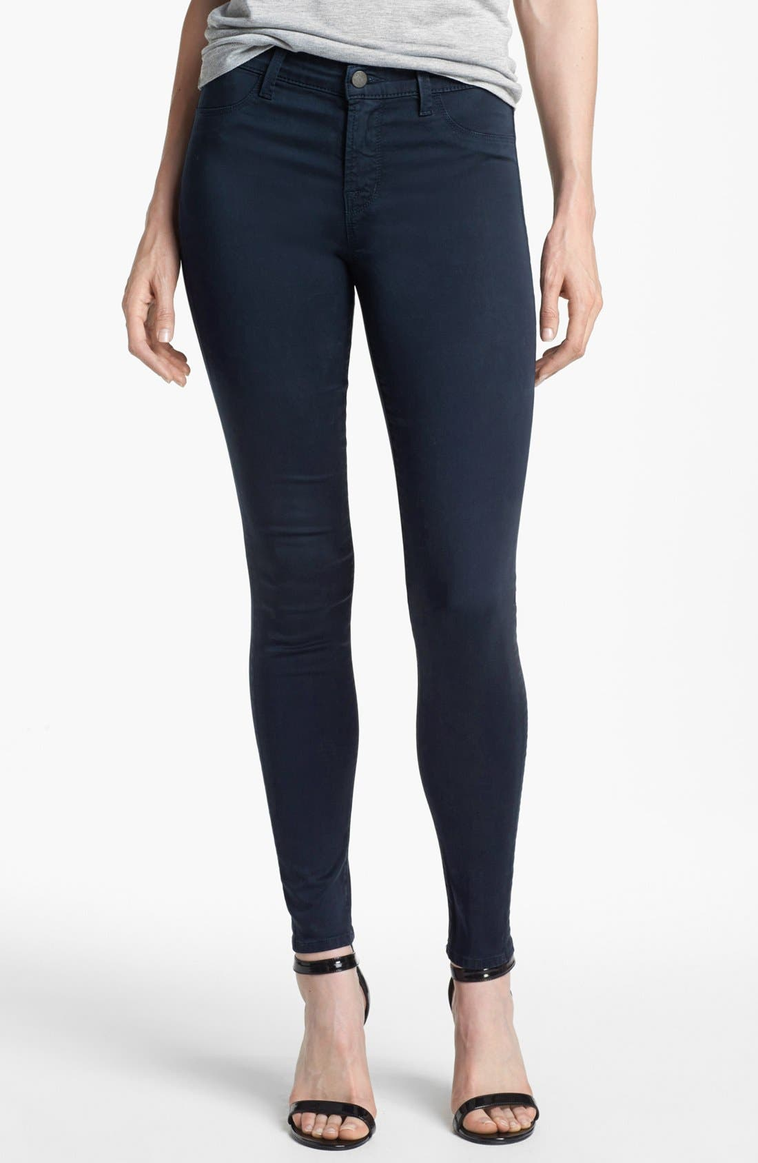 Main Image - J Brand '485' Mid Rise Super Skinny Jeans (Carbon Blue)