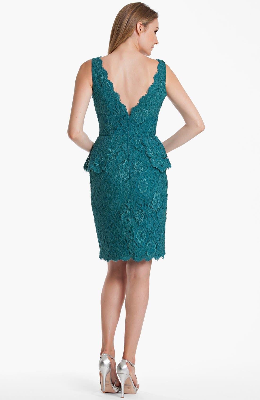 Alternate Image 2  - JS Boutique Lace Peplum Sheath Dress